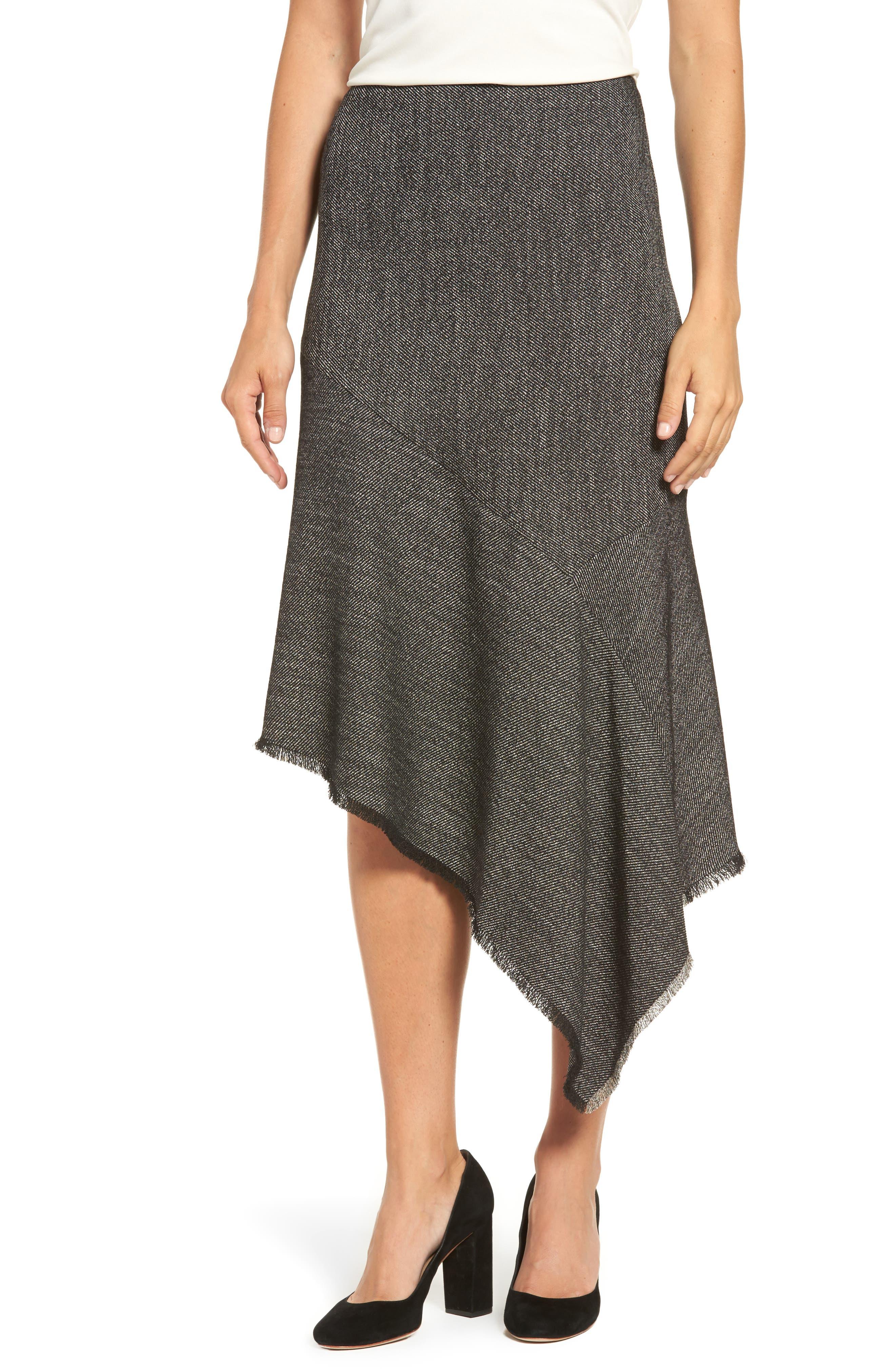 Asymmetrical Tweed Skirt,                             Main thumbnail 1, color,                             001