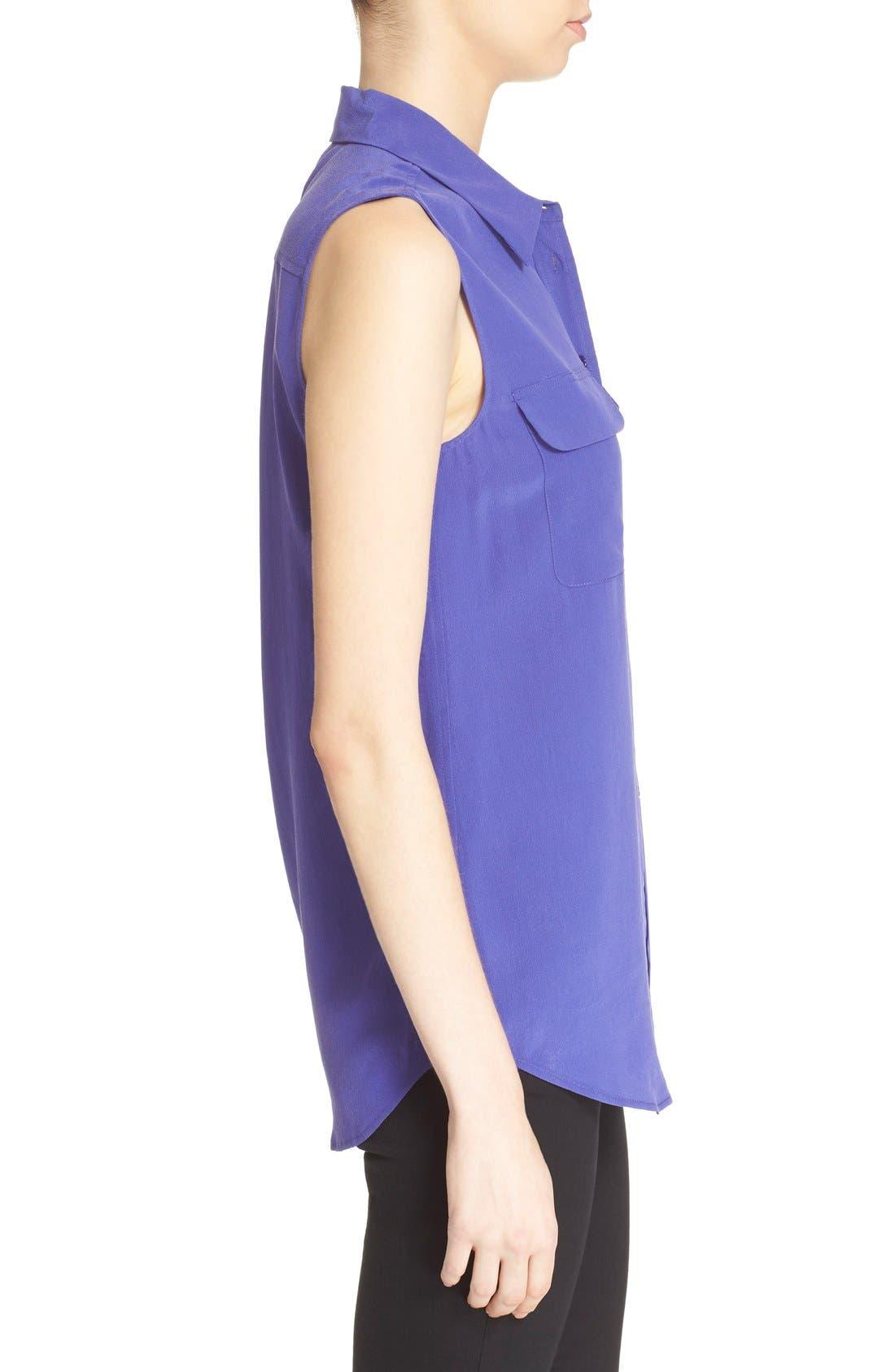 'Slim Signature' Sleeveless Silk Shirt,                             Alternate thumbnail 197, color,
