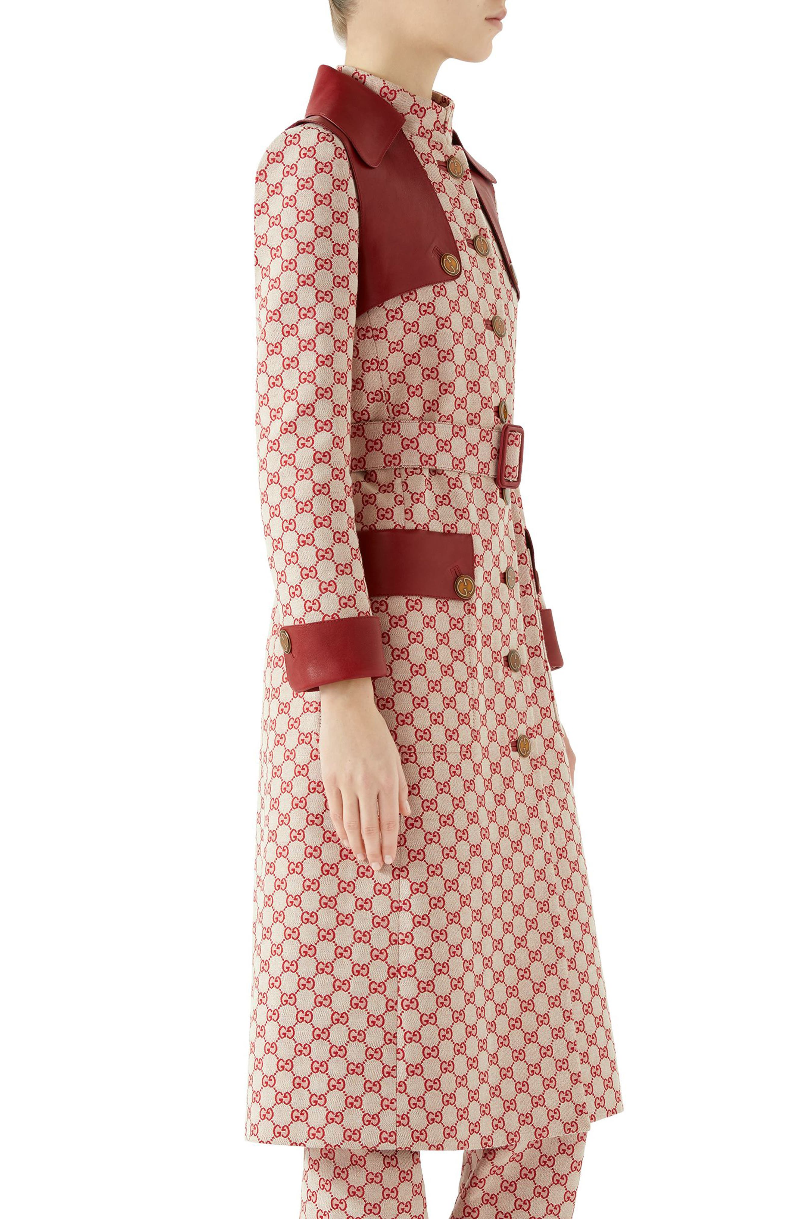 Leather Trim GG Canvas Trench Coat,                             Alternate thumbnail 3, color,                             GARDENIA/ RED