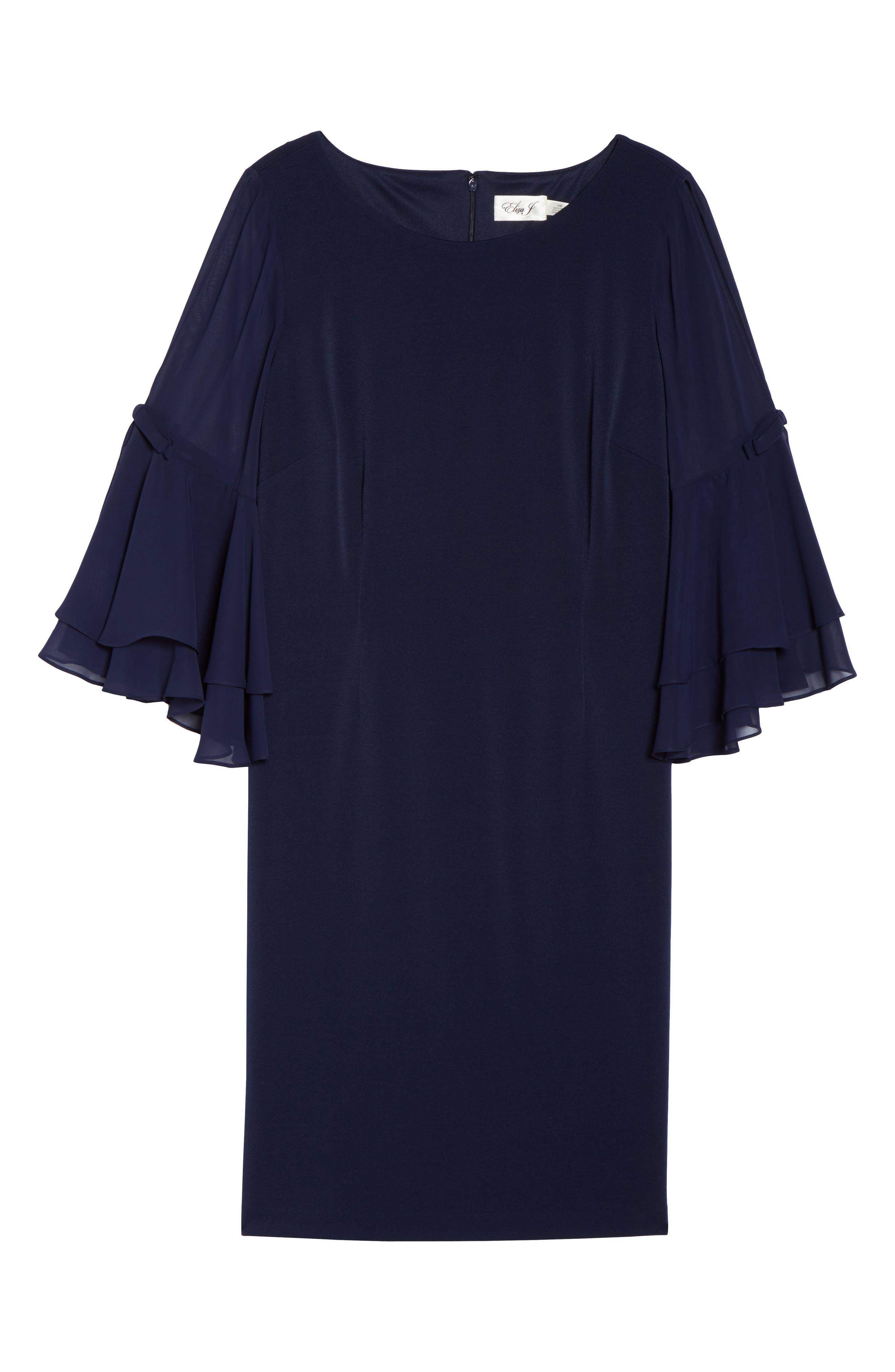 Bow Sleeve Chiffon Shift Dress,                             Alternate thumbnail 6, color,                             410