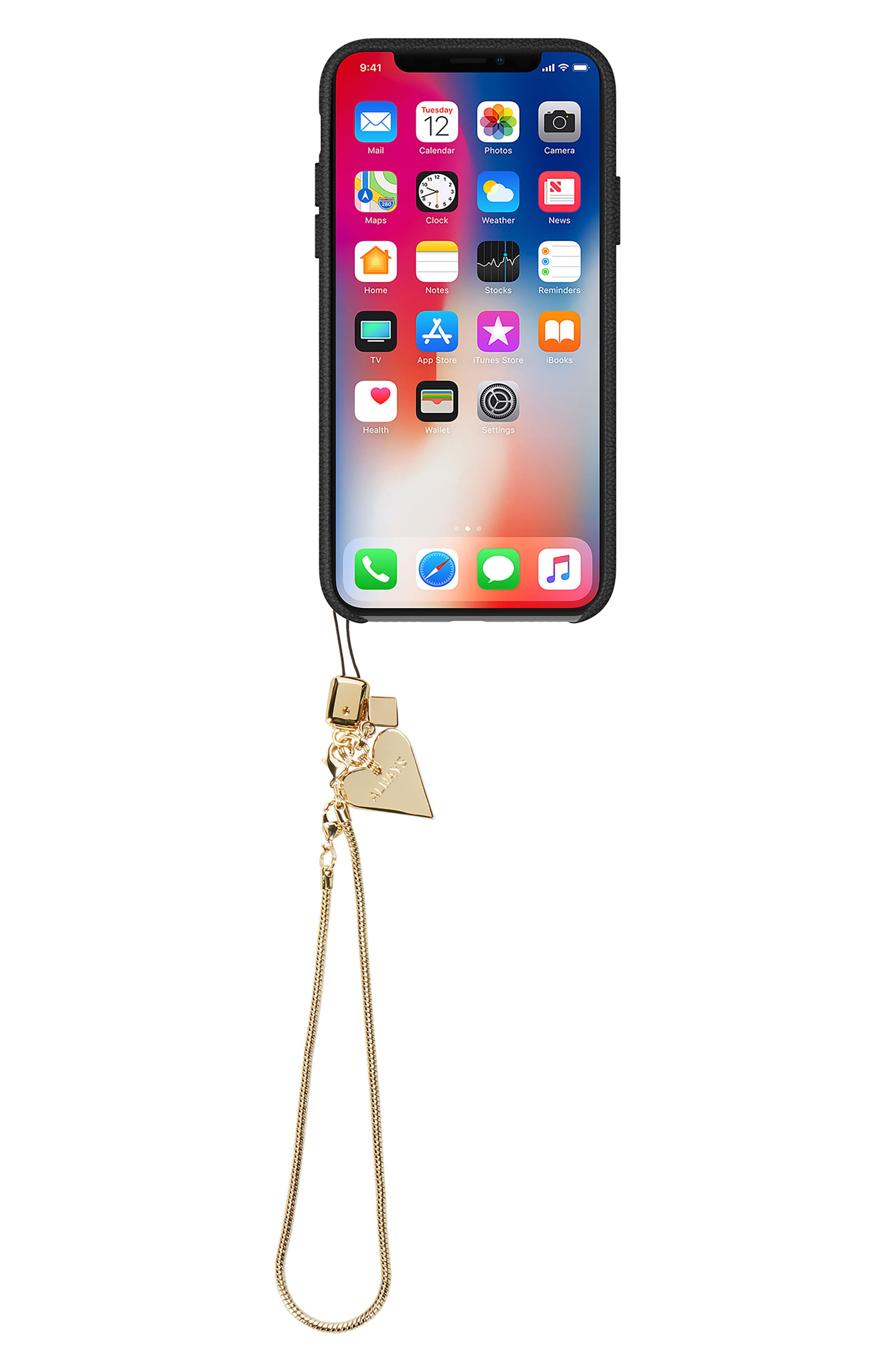 Leather iPhone X Wristlet Case with Charms,                             Alternate thumbnail 3, color,                             001
