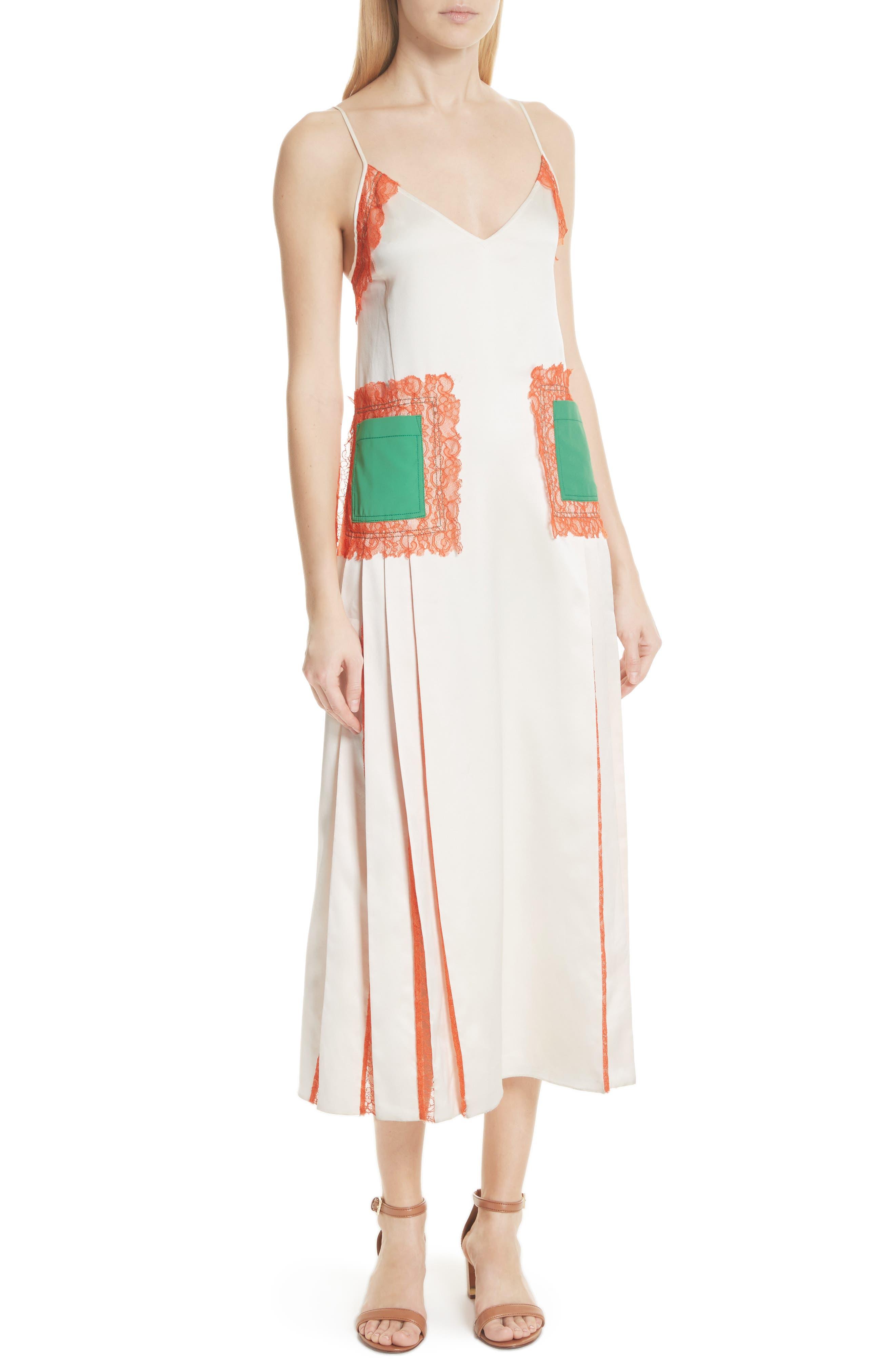 Claire Silk Midi Dress,                             Alternate thumbnail 5, color,                             104