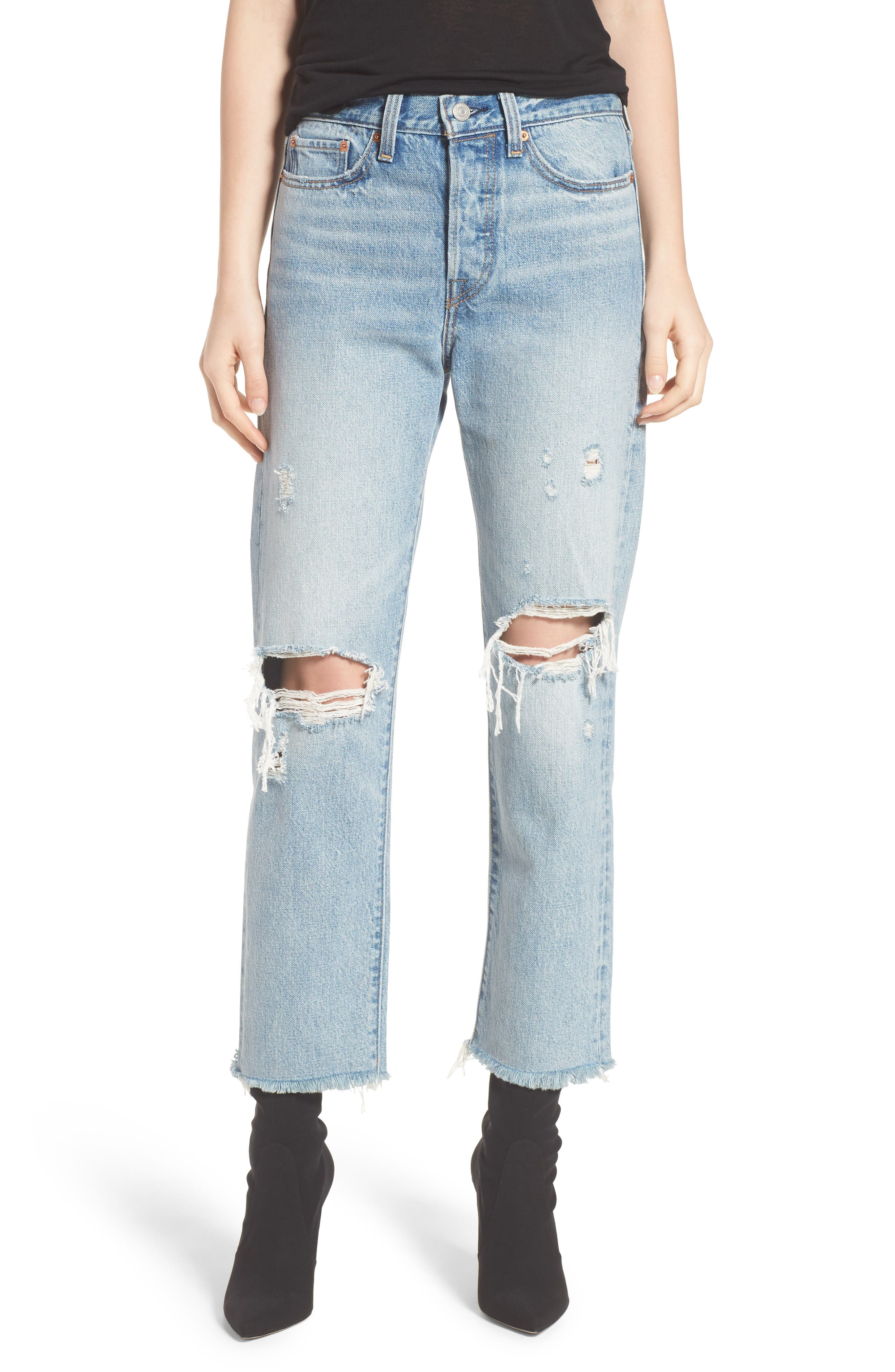 Wedgie High Waist Straight Jeans,                             Main thumbnail 1, color,                             420