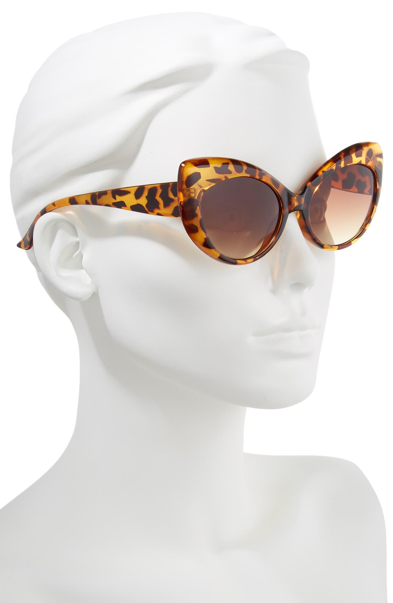 57mm Cheetah Pattern Cat Eye Sunglasses,                             Alternate thumbnail 2, color,                             200