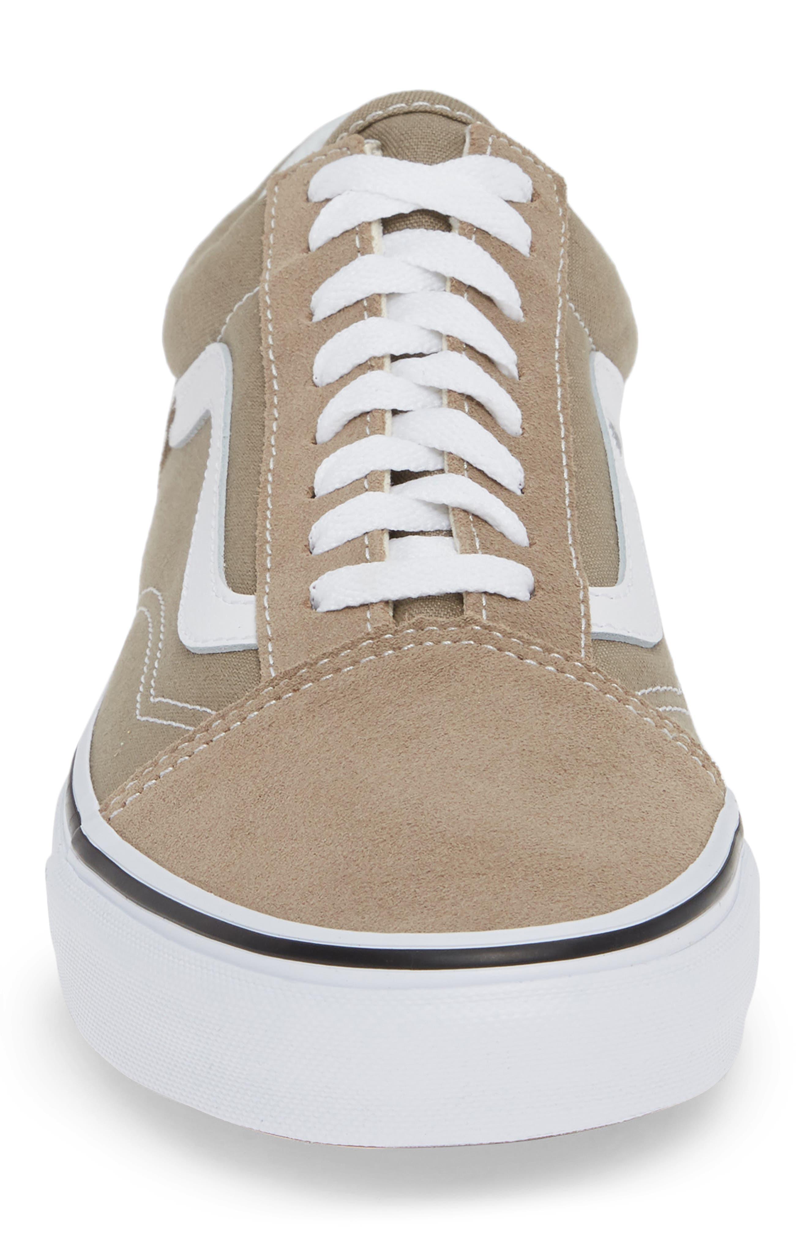 'Old Skool' Sneaker,                             Alternate thumbnail 4, color,                             DESERT TAUPE/ WHITE CANVAS
