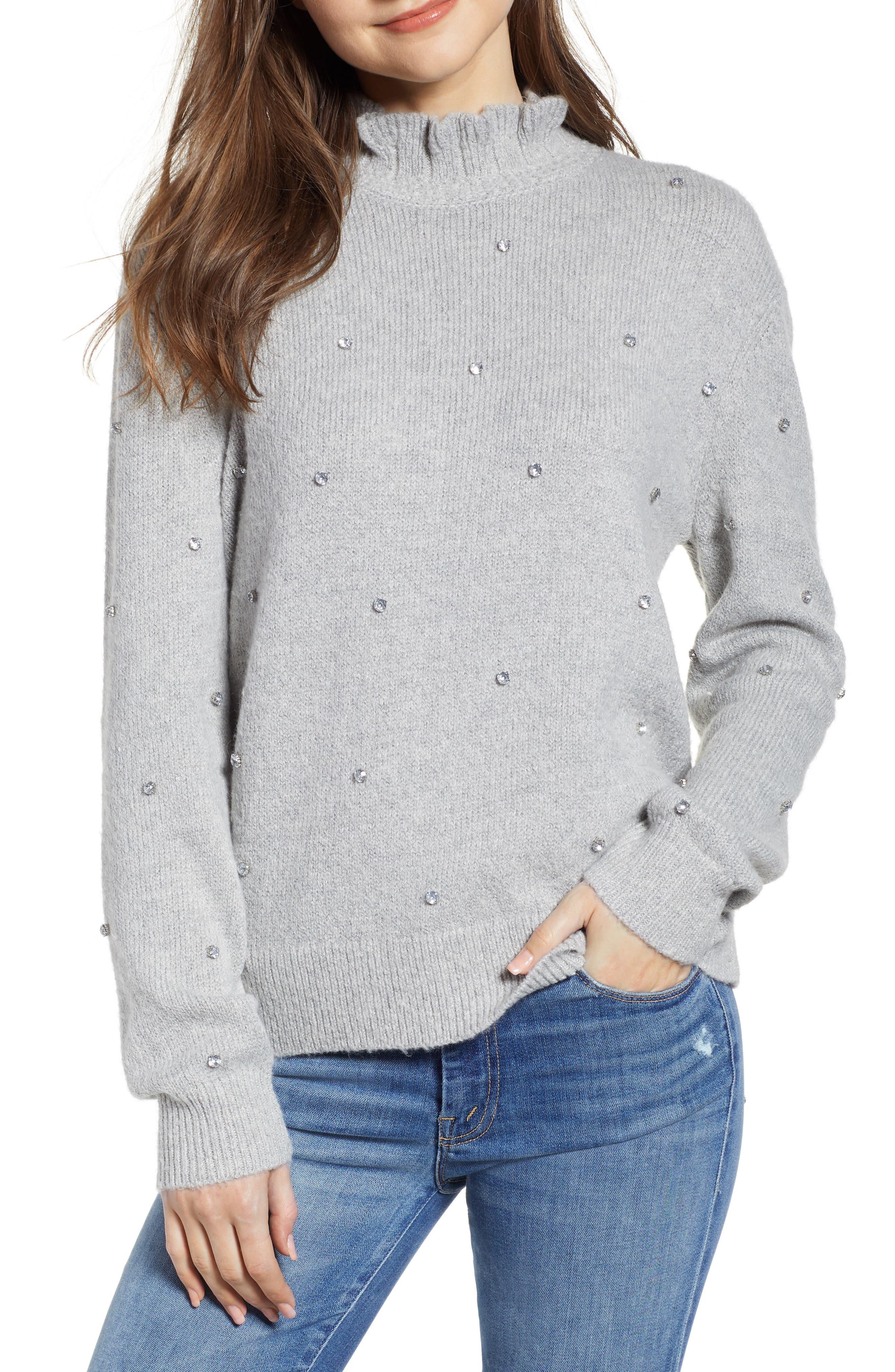 Hinge Embellished Ruffle Neck Sweater, Grey