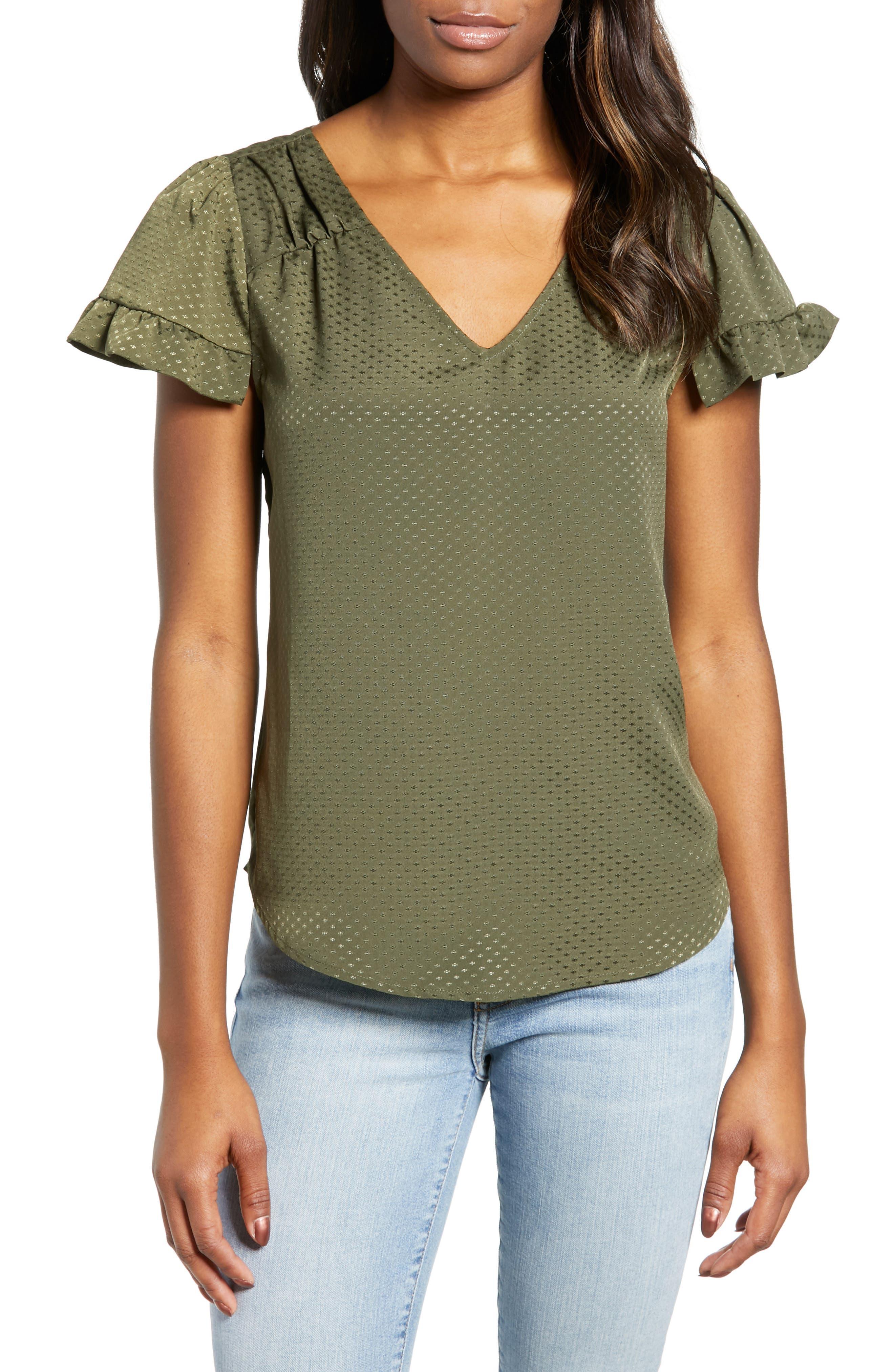 Ruffled Satin Jacquard Top, Main, color, MILITARY GREEN