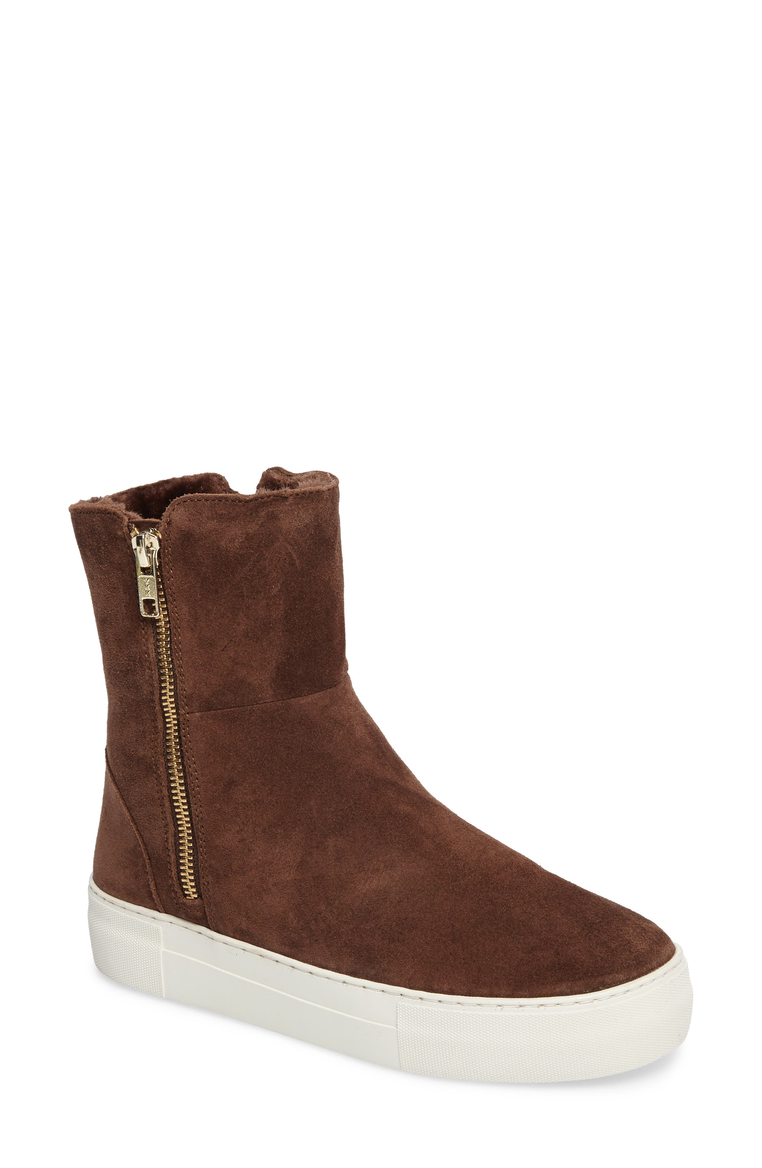Allie Faux Fur Lined Platform Boot,                         Main,                         color, BROWN SUEDE