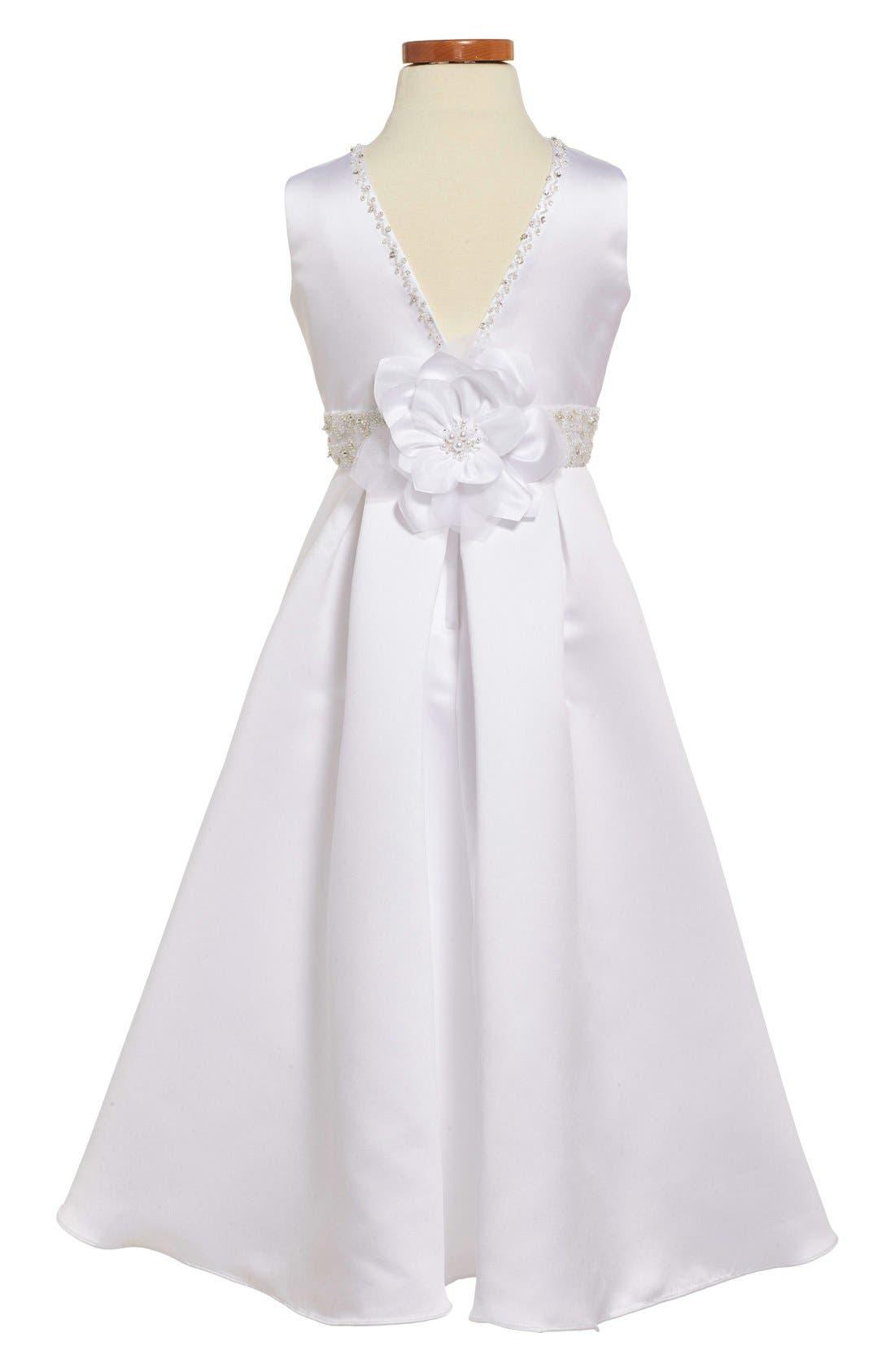 JOAN CALABRESE FOR MON CHERI,                             Satin First Communion Dress,                             Alternate thumbnail 2, color,                             100