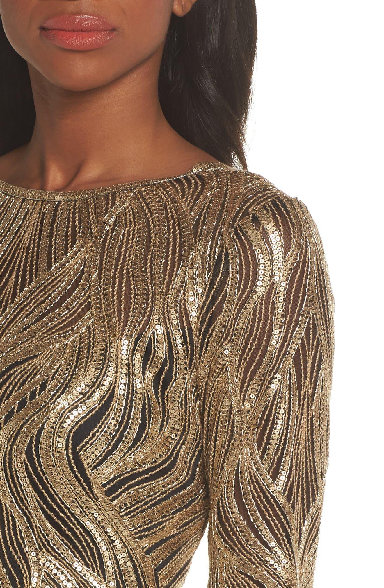 Long Sleeve Sequin Mesh Cocktail Dress,                             Alternate thumbnail 4, color,                             GOLD/ BLACK