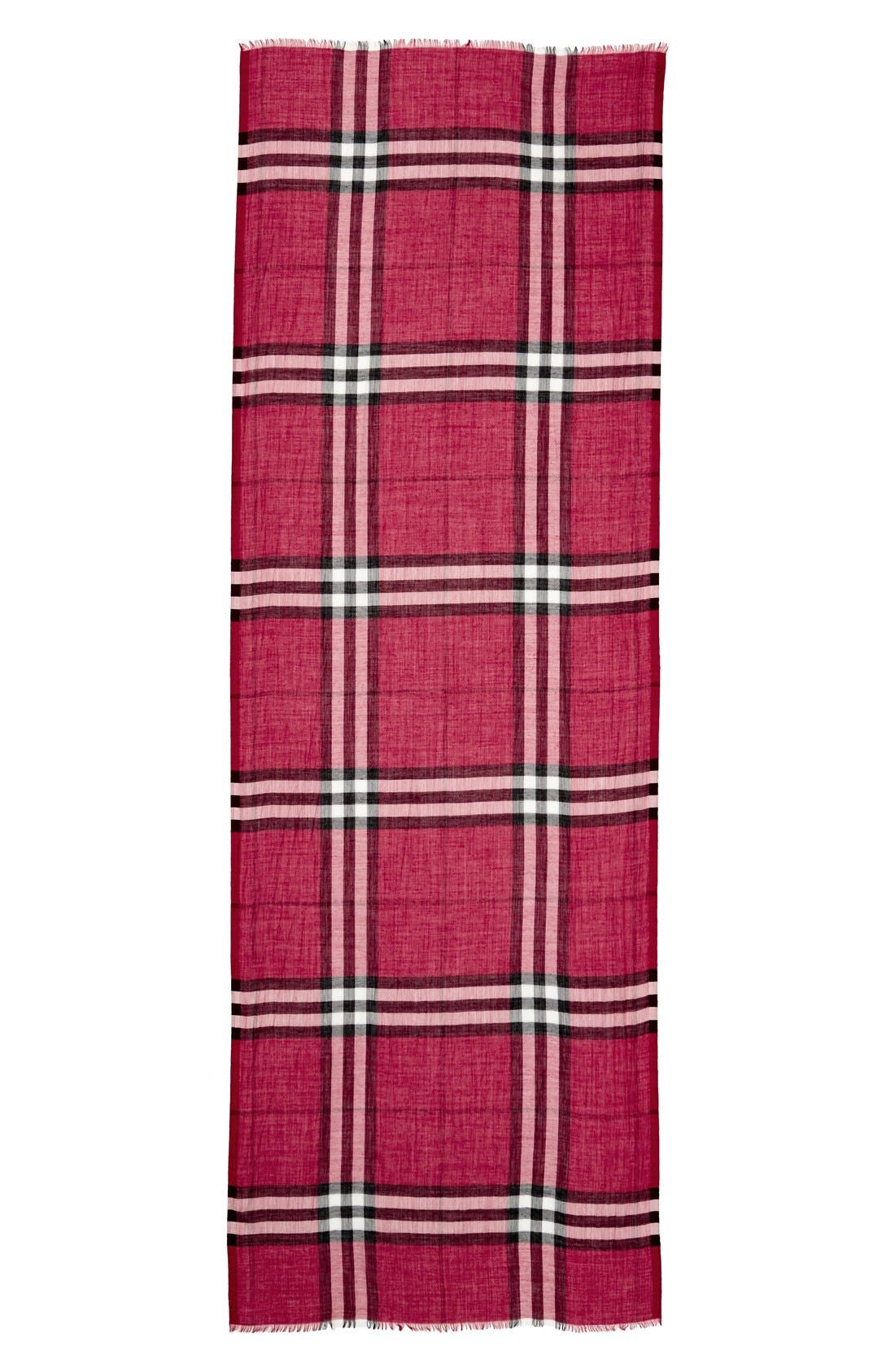 Giant Check Print Wool & Silk Scarf,                             Alternate thumbnail 141, color,