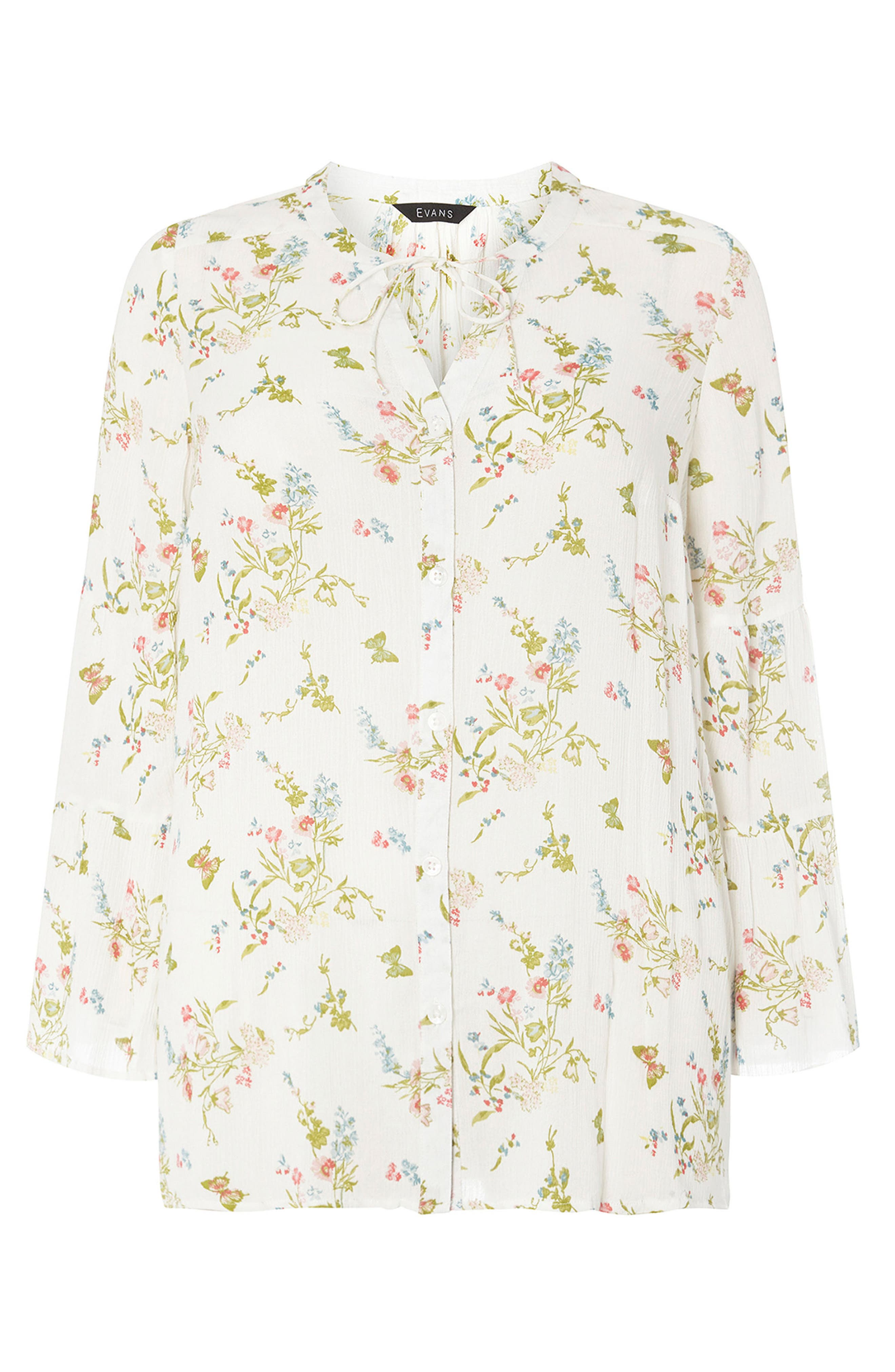 Bell Sleeve Floral Blouse,                             Alternate thumbnail 4, color,                             903