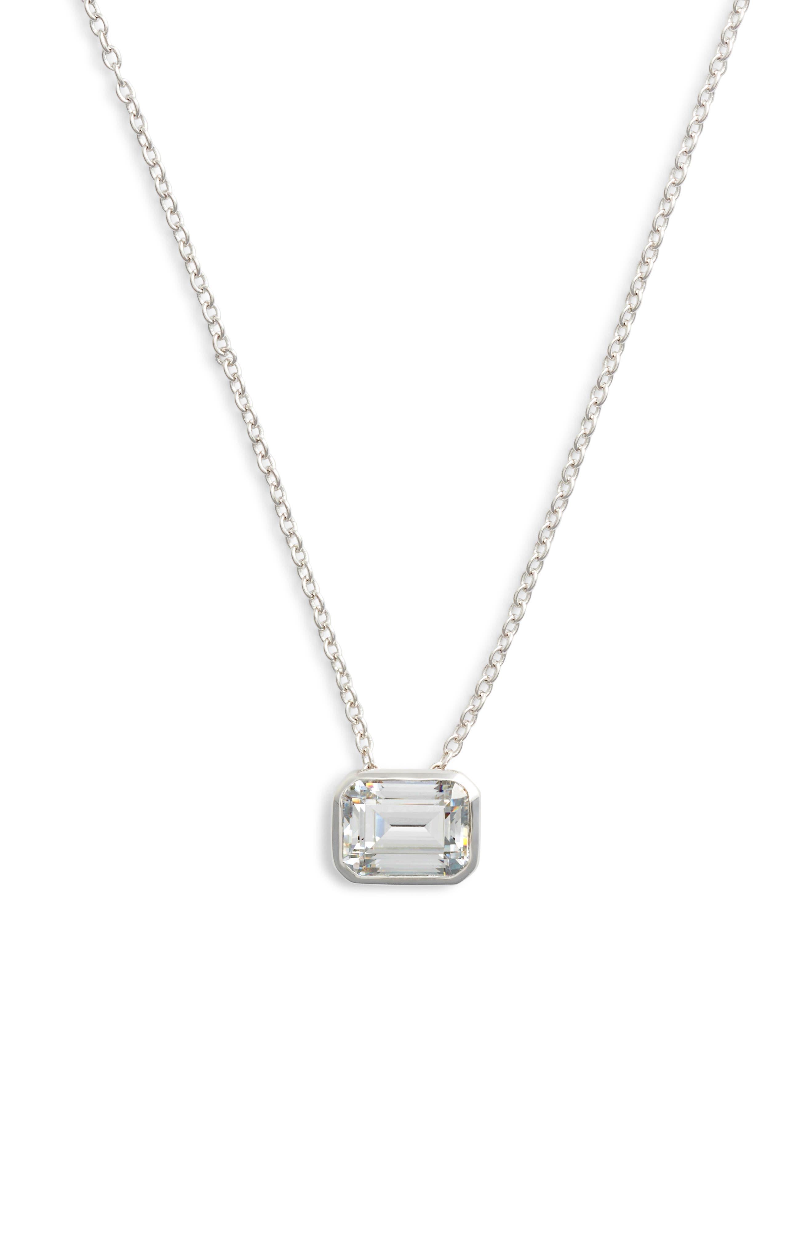 Bezel-Set Emerald-Cut Choker Necklace,                         Main,                         color, SILVER/ CLEAR