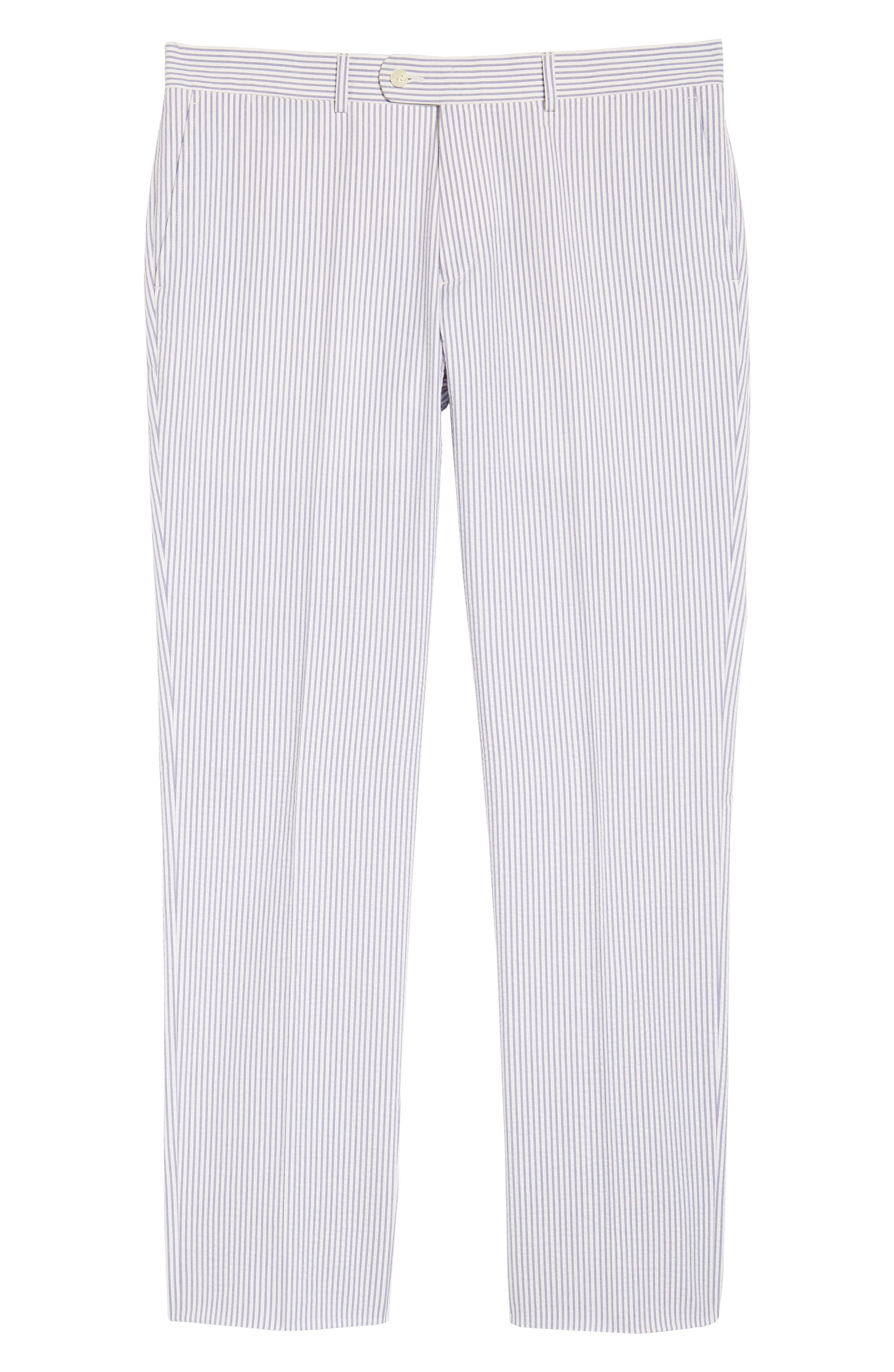 Andrew AIM Flat Front Seersucker Trousers,                             Alternate thumbnail 6, color,                             BLUE AND WHITE