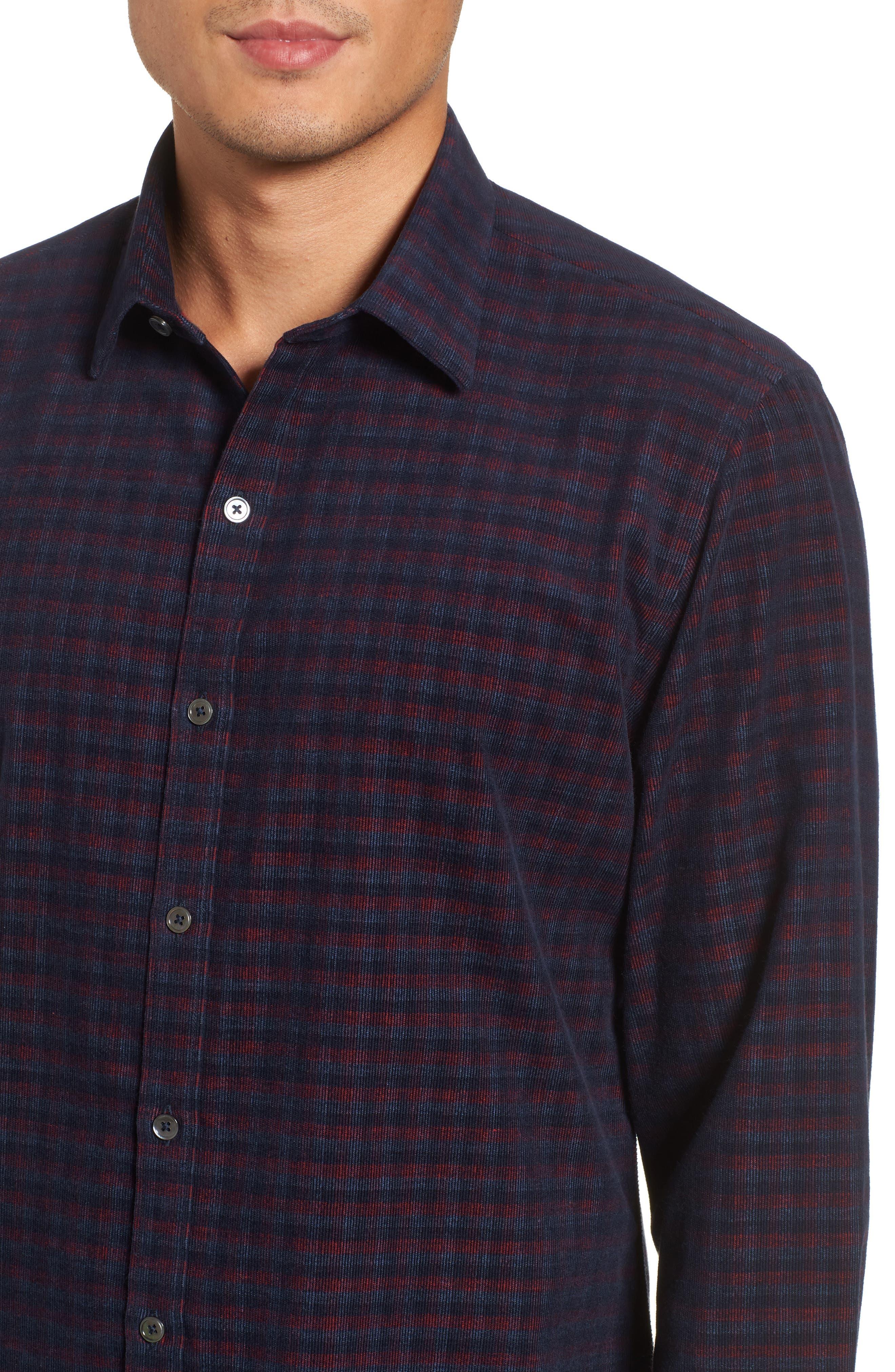 Byas Check Corduroy Sport Shirt,                             Alternate thumbnail 4, color,                             410