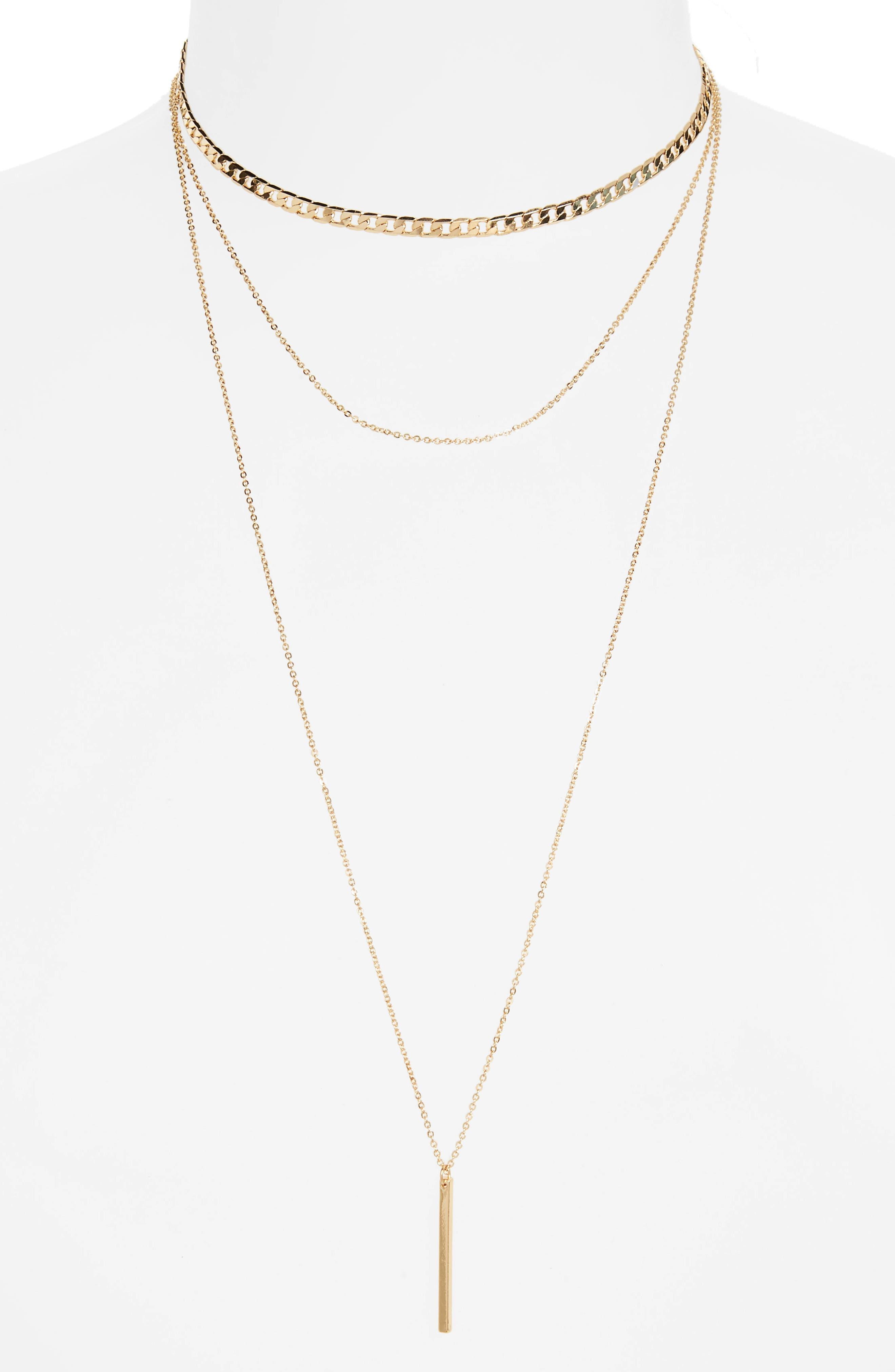 Layered Bar Charm Necklace,                             Main thumbnail 1, color,                             710