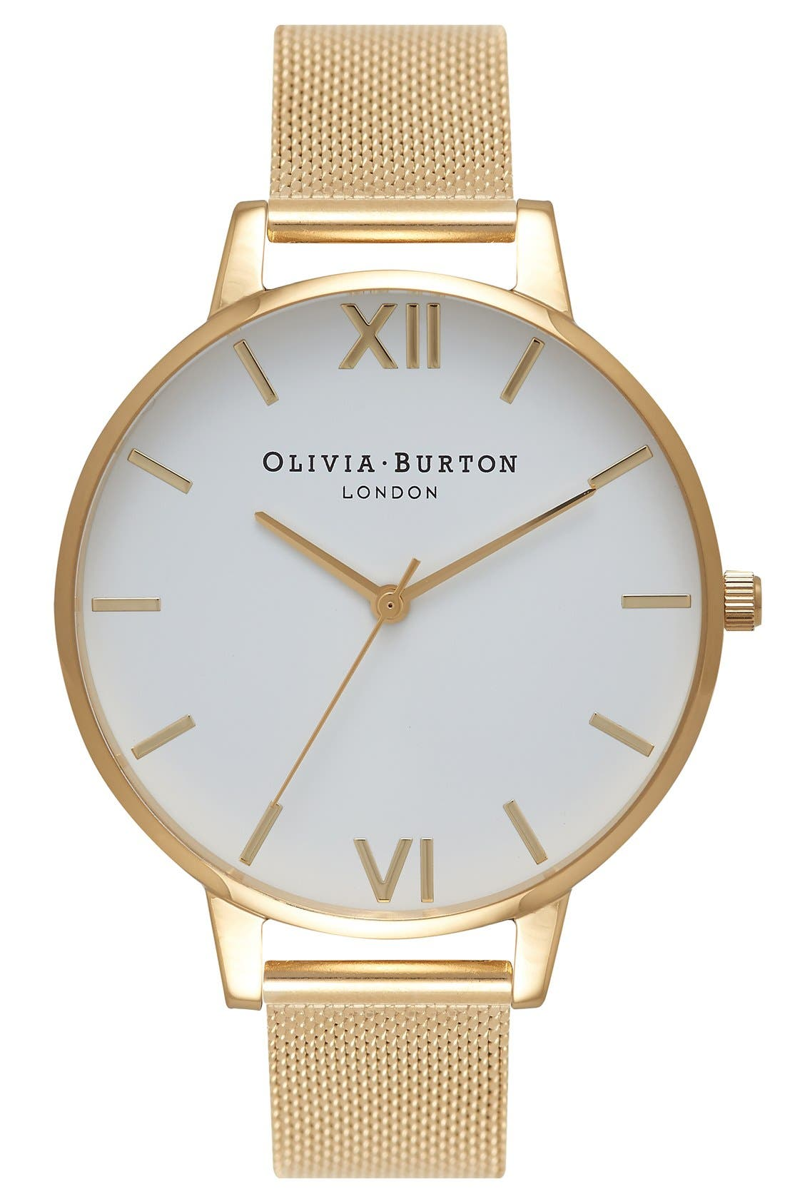 'Big Dial' Mesh Strap Watch, 38mm,                             Main thumbnail 1, color,                             GOLD/ WHITE