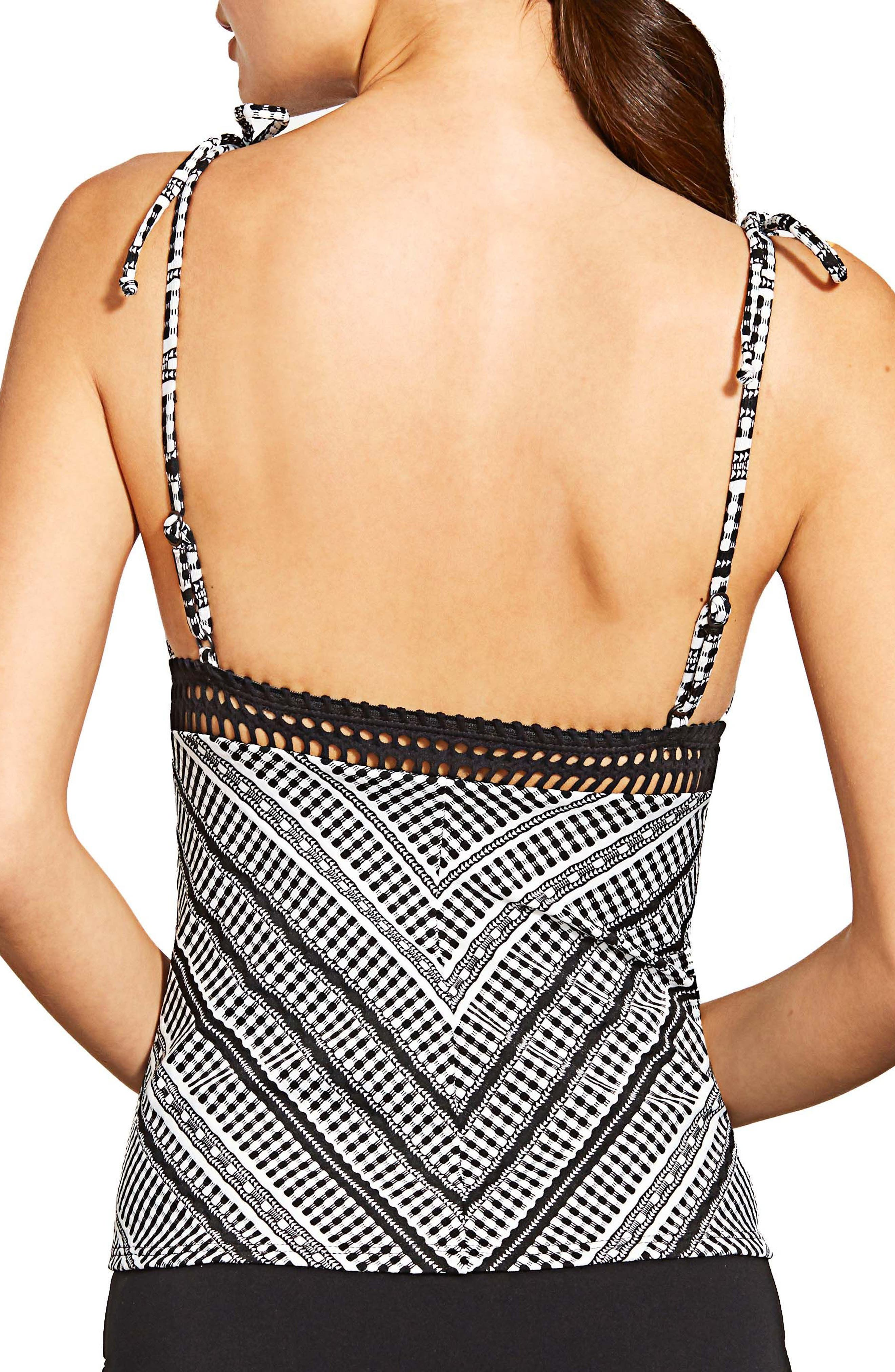Avery Check Stripe Tankini Top,                             Alternate thumbnail 2, color,                             BLACK/ WHITE