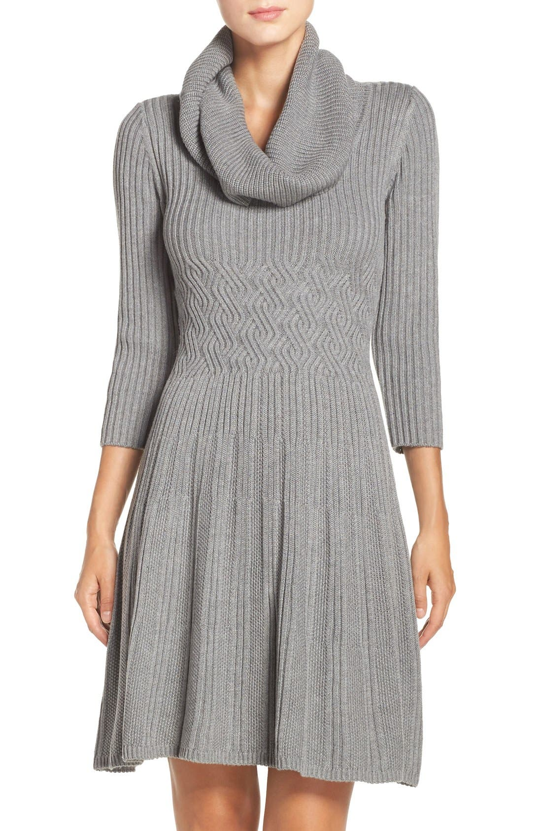 Fit & Flare Sweater Dress,                             Main thumbnail 1, color,                             030