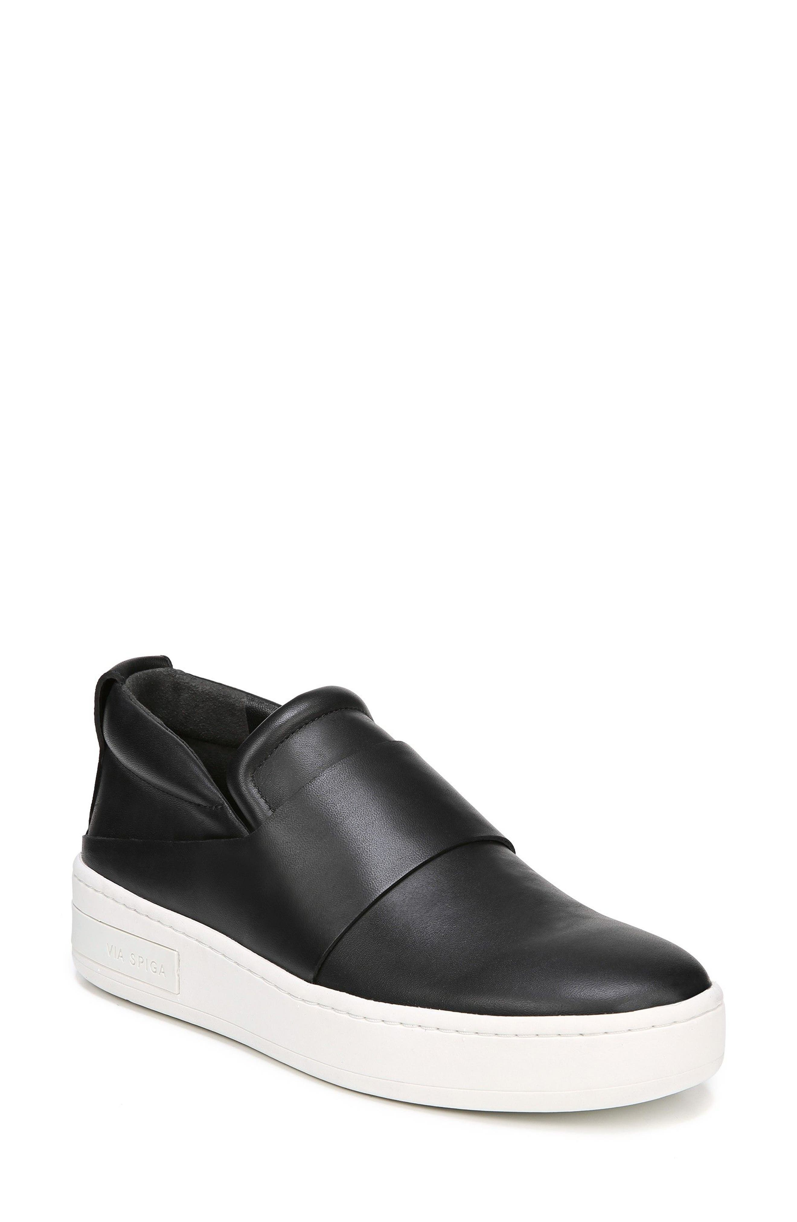 Ryder Slip-On Sneaker,                             Main thumbnail 1, color,                             BLACK LEATHER