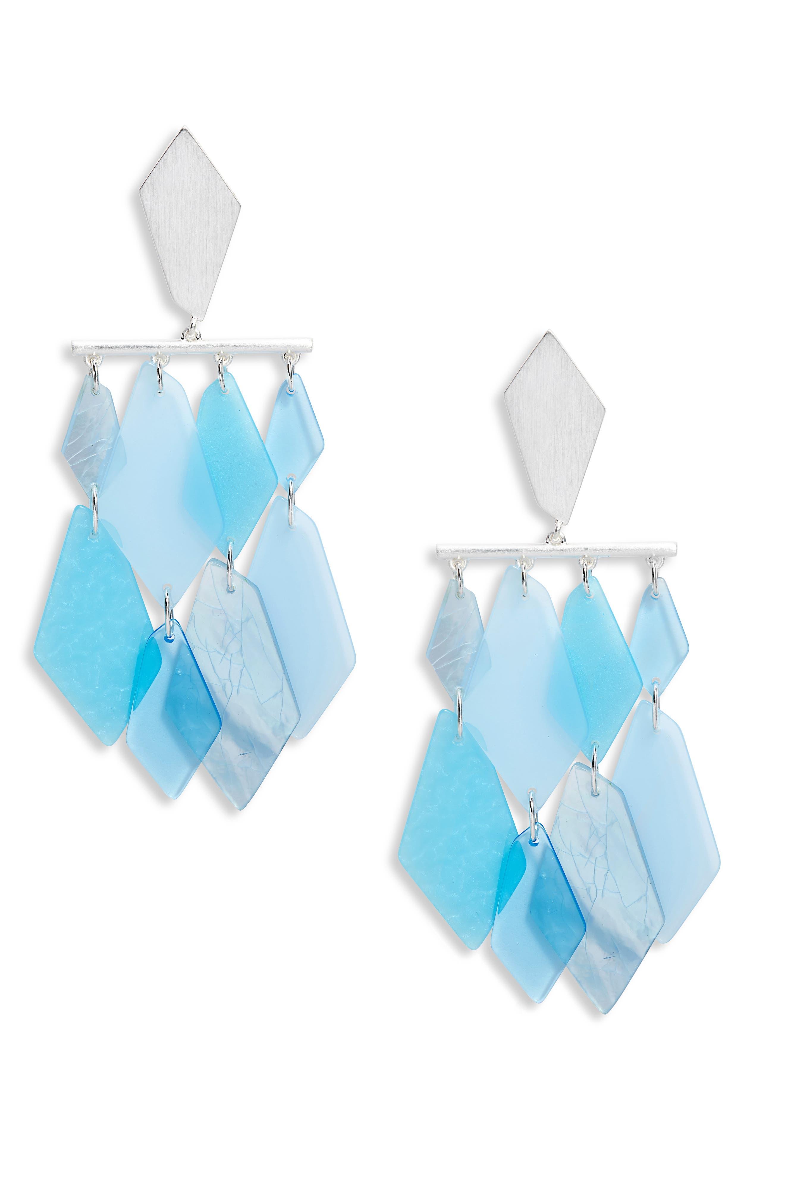 KENDRA SCOTT Hanna Earrings, Main, color, SKY BLUE MIX/ SILVER