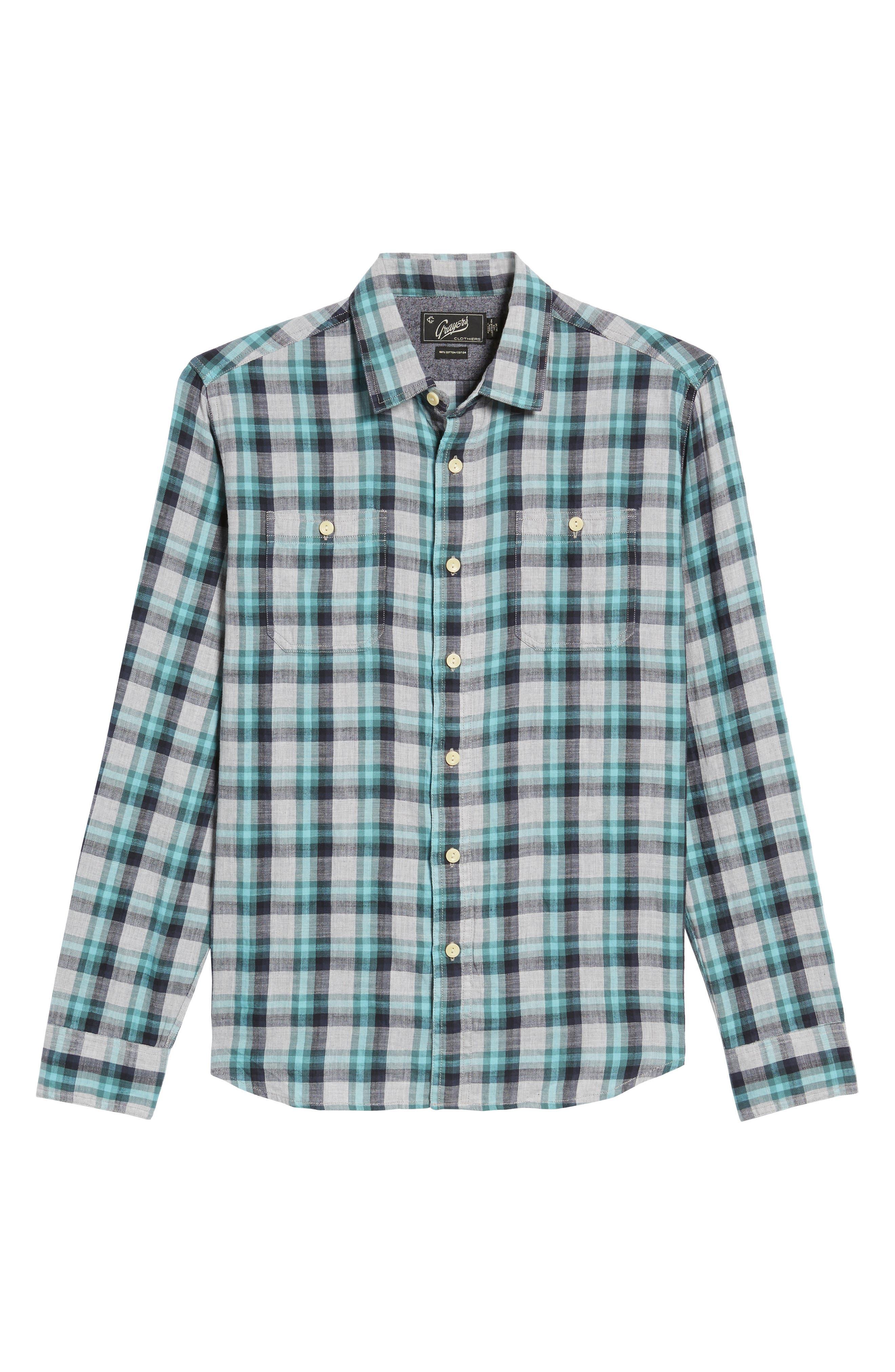 Trevor Modern Fit Slub Twill Sport Shirt,                             Alternate thumbnail 6, color,