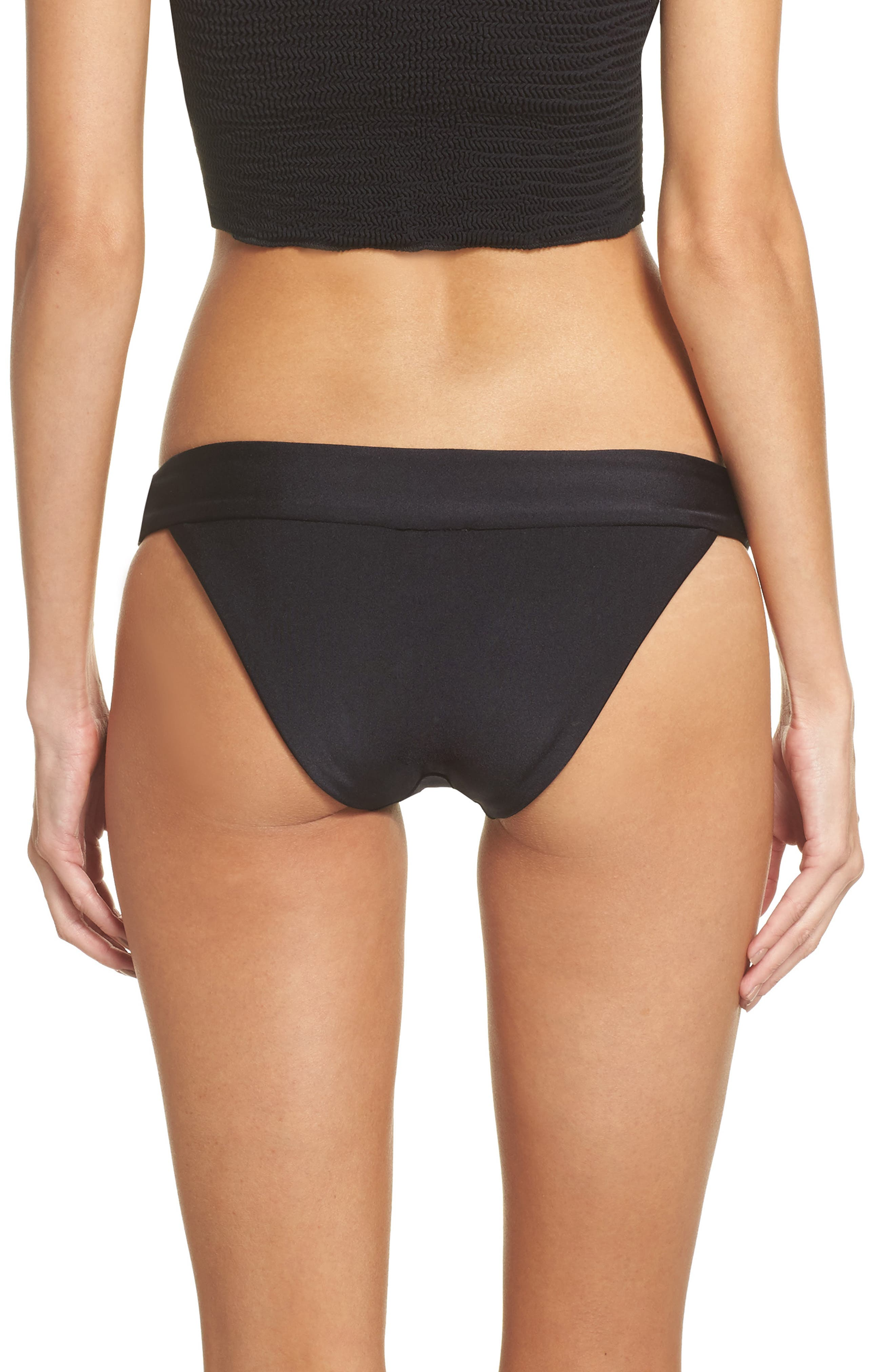 Tubular Solid Bikini Bottoms,                             Alternate thumbnail 2, color,                             BLACK