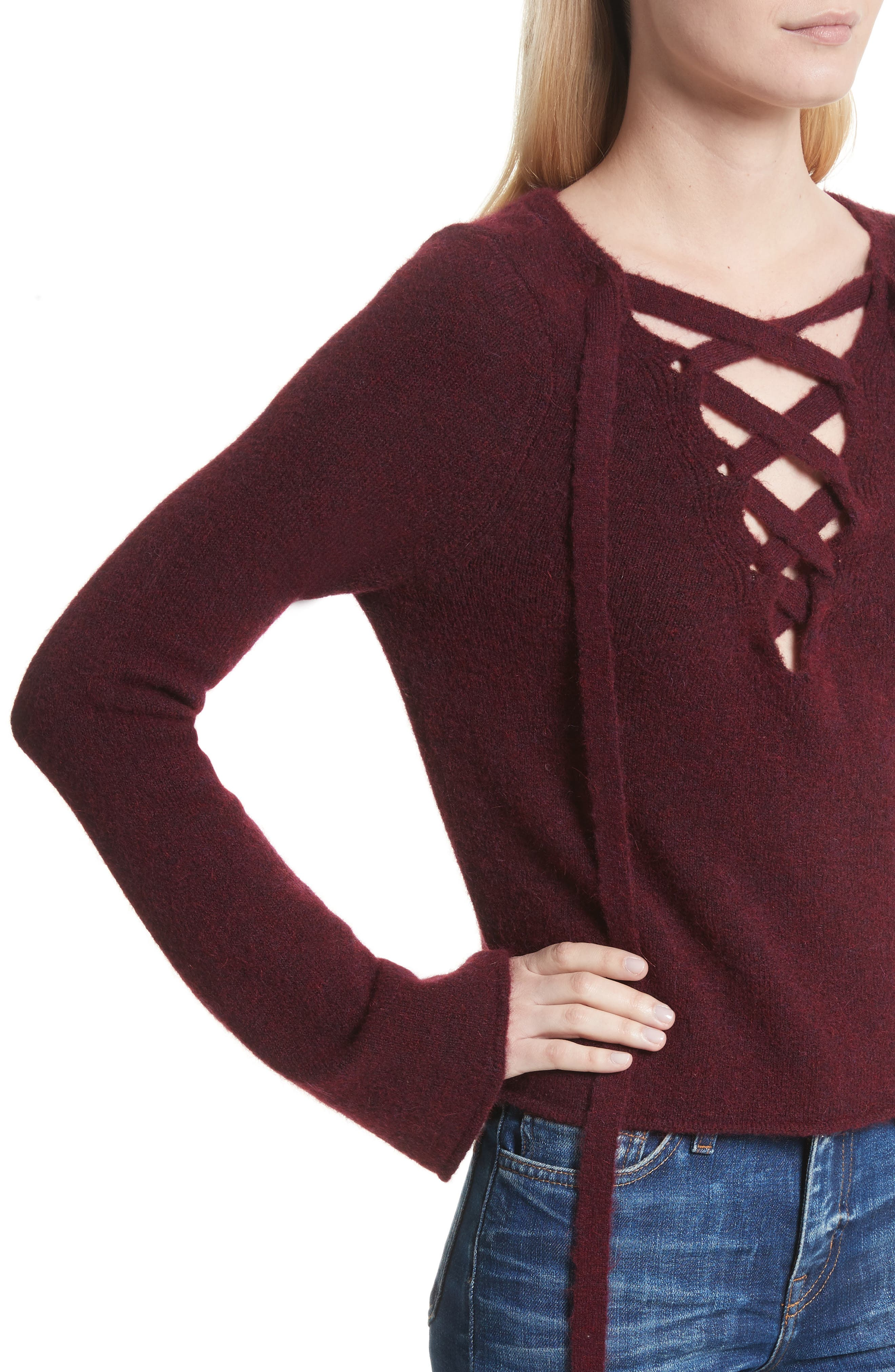 Candela Lace-Up Sweater,                             Alternate thumbnail 4, color,                             600