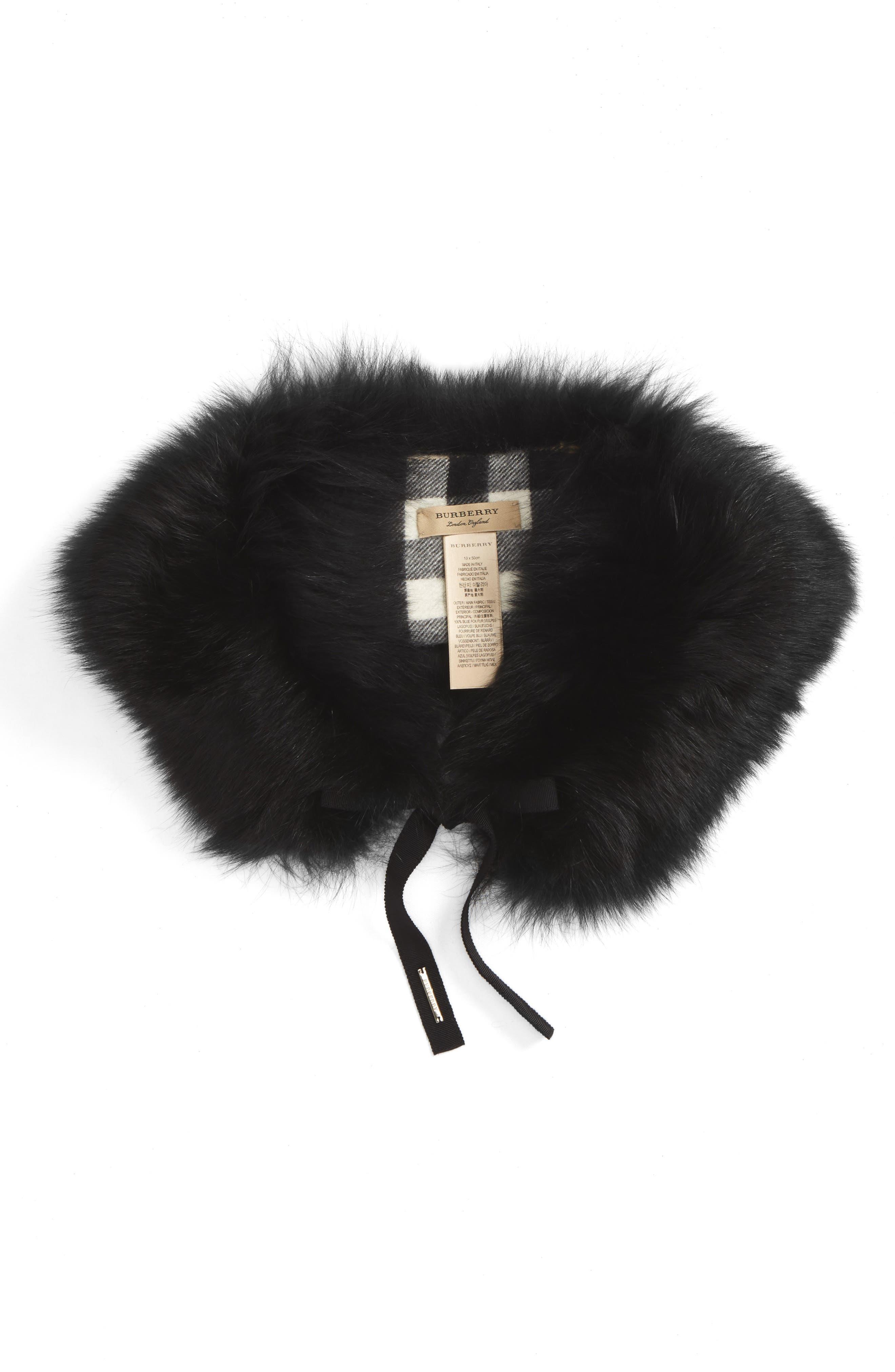 Genuine Fox Fur Collar,                             Alternate thumbnail 4, color,
