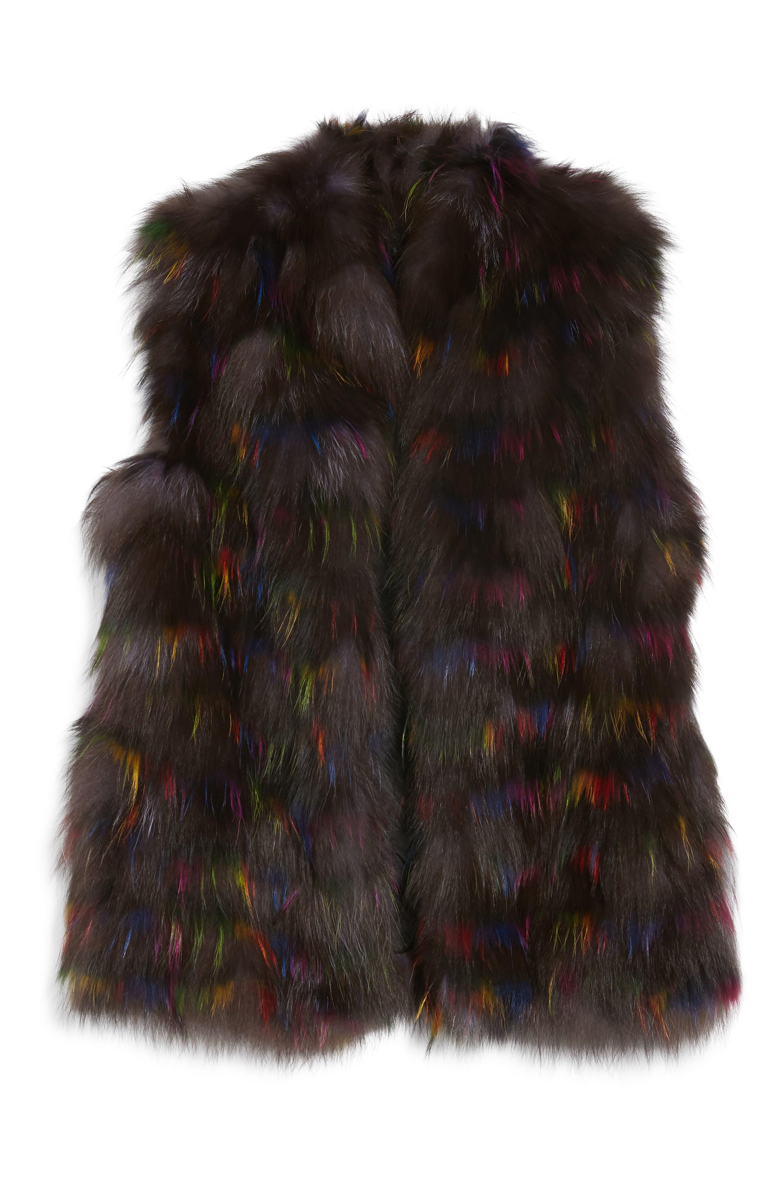 Genuine Fox Fur Vest,                             Alternate thumbnail 5, color,                             200