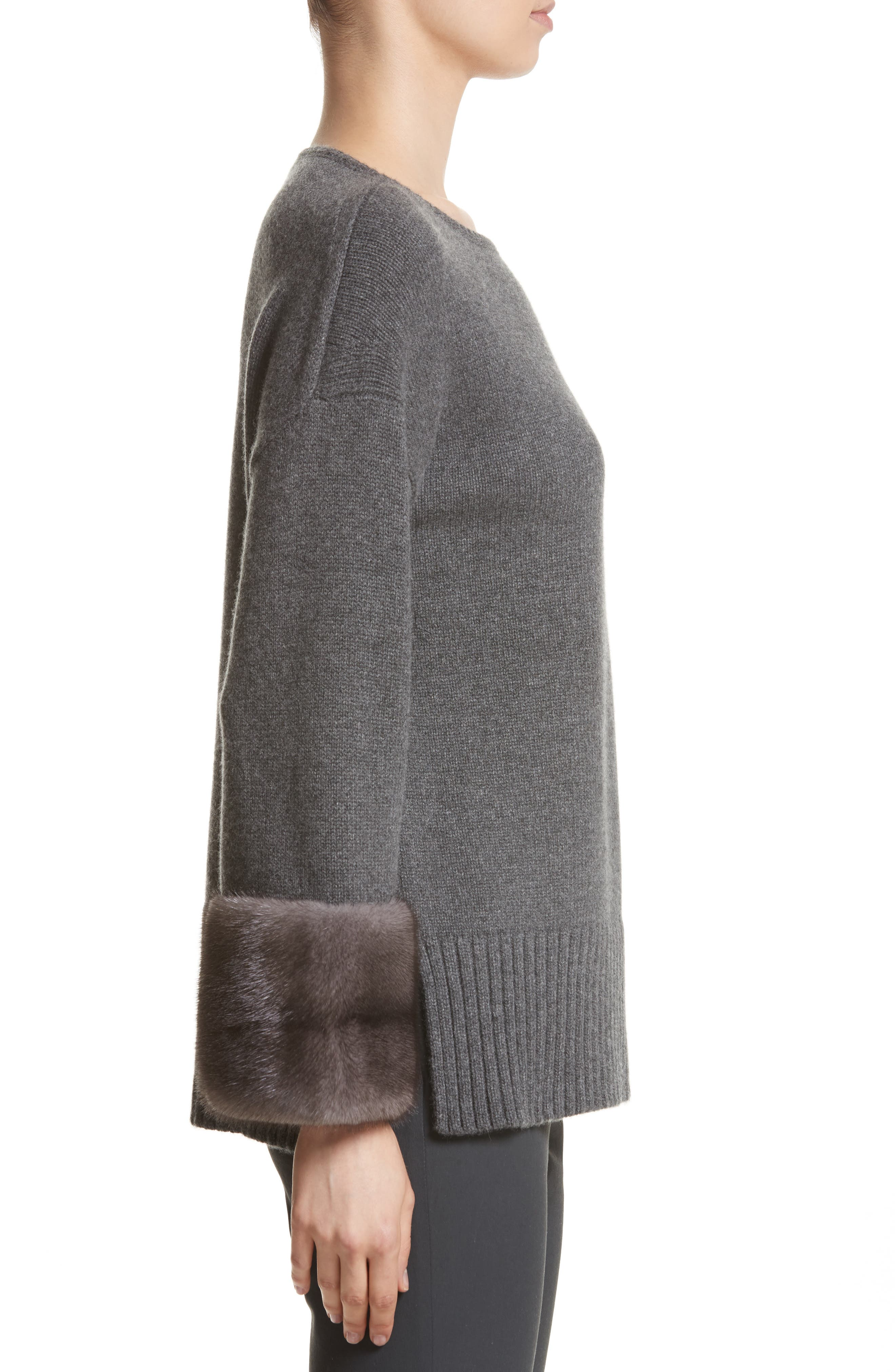 Cashmere Sweater with Genuine Mink Fur Cuffs,                             Alternate thumbnail 3, color,                             020