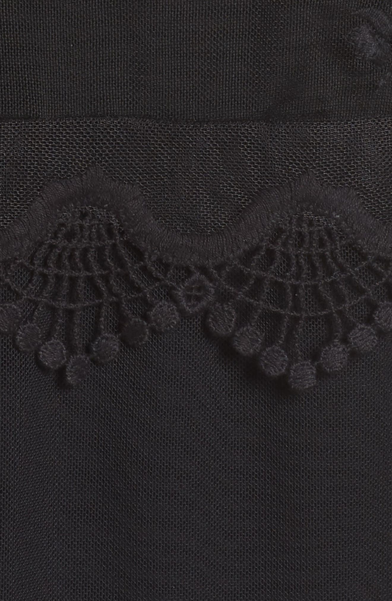Scallop Trim Embroidered Mesh Top,                             Alternate thumbnail 6, color,                             RICH BLACK