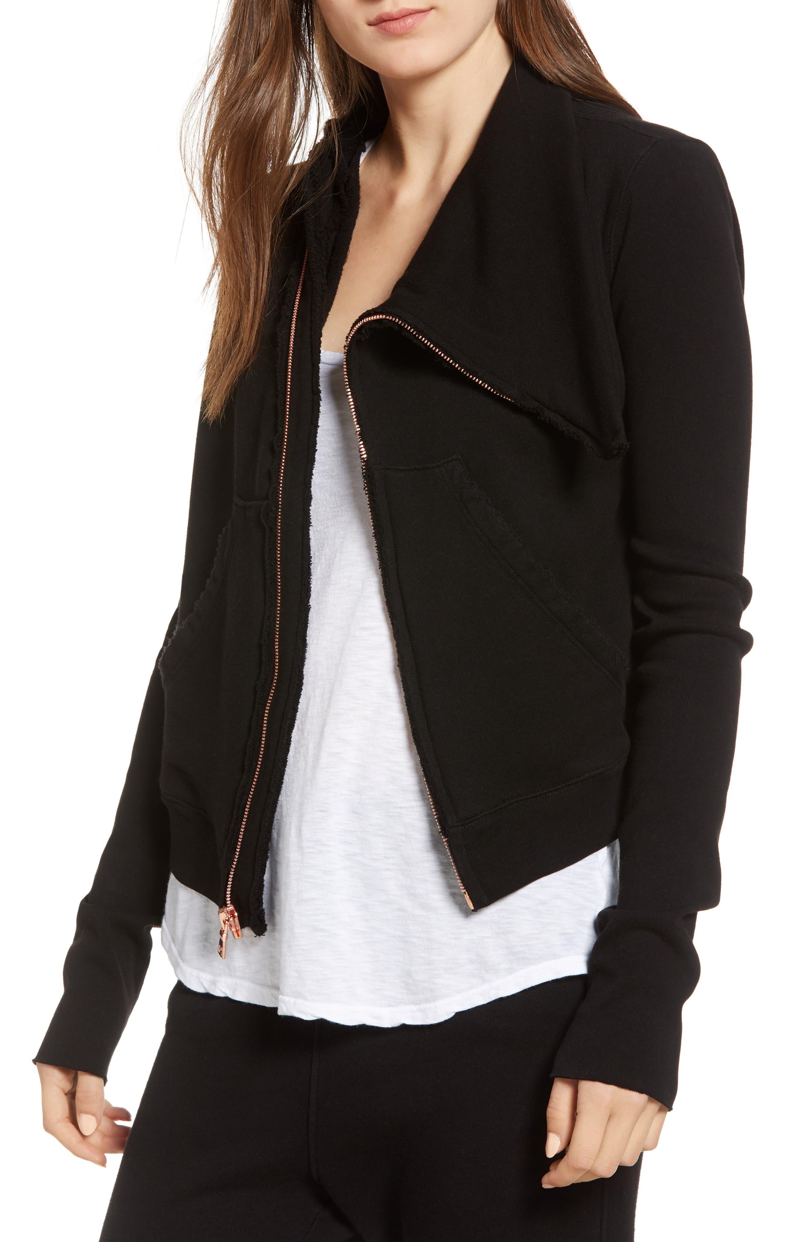 FRANK & EILEEN TEE LAB Frank & Eileen Asymmetrical Zip Fleece Jacket in Blackout