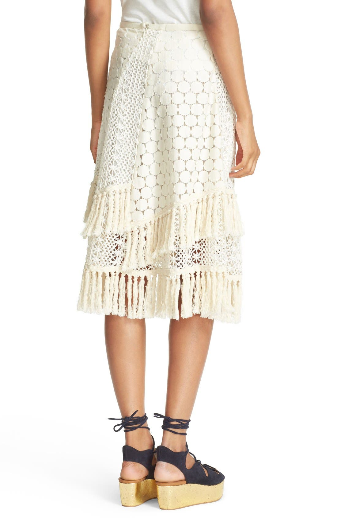 SEE BY CHLOÉ,                             Lace & Fringe Skirt,                             Alternate thumbnail 3, color,                             900