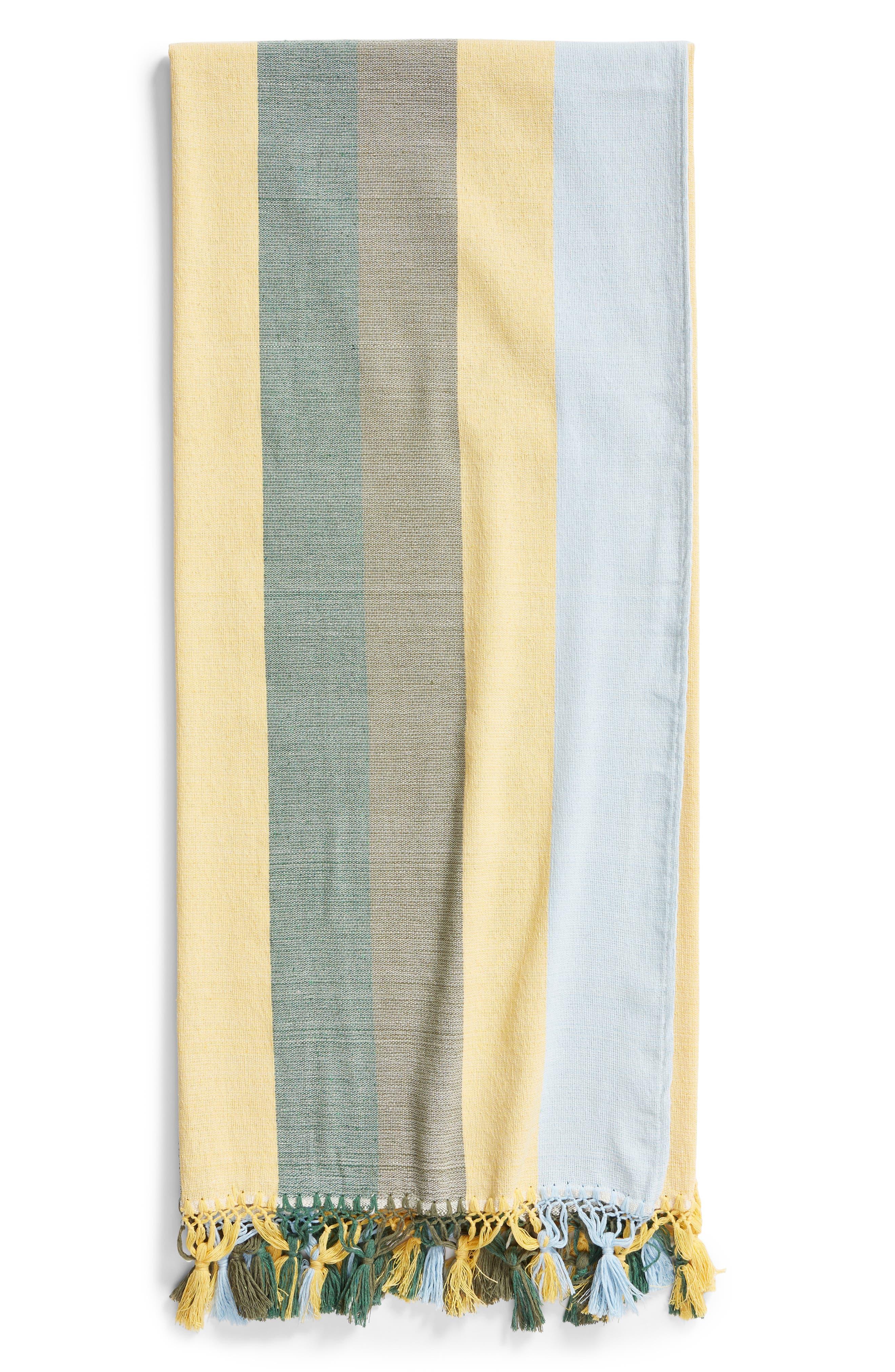 Forest Stripe Woven Cotton Blanket,                             Main thumbnail 1, color,                             020