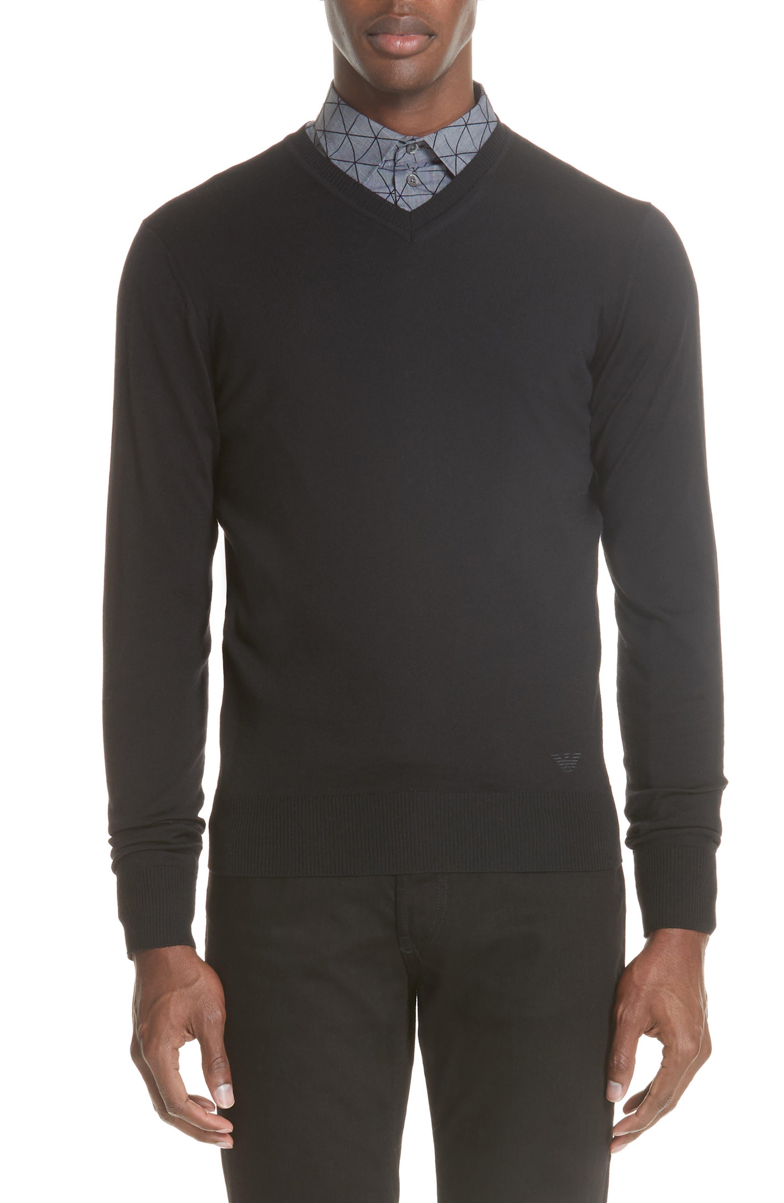 V-Neck Wool Sweater,                         Main,                         color, BLACK