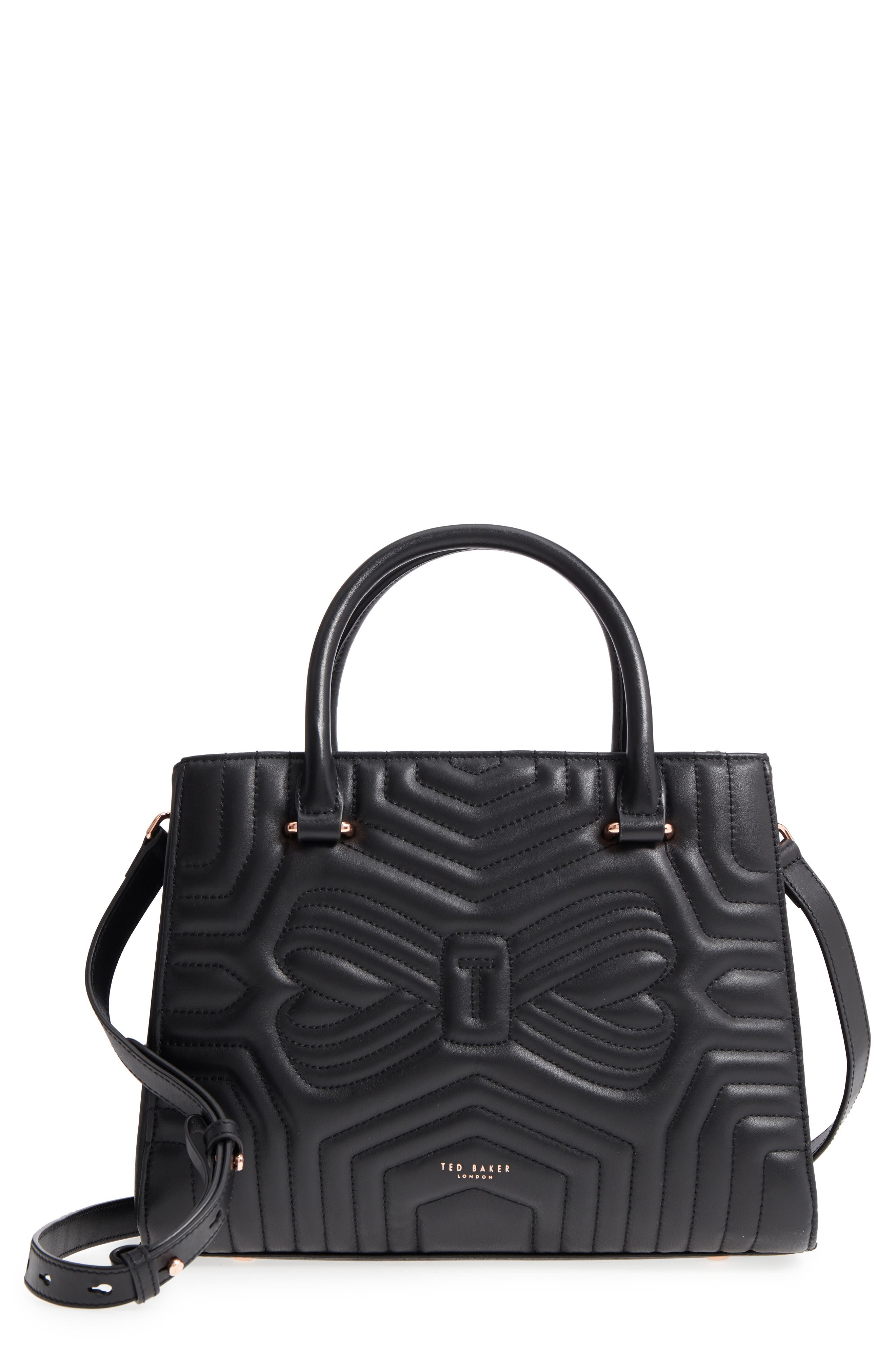 Quilted Bow Leather Tote,                             Main thumbnail 1, color,                             001