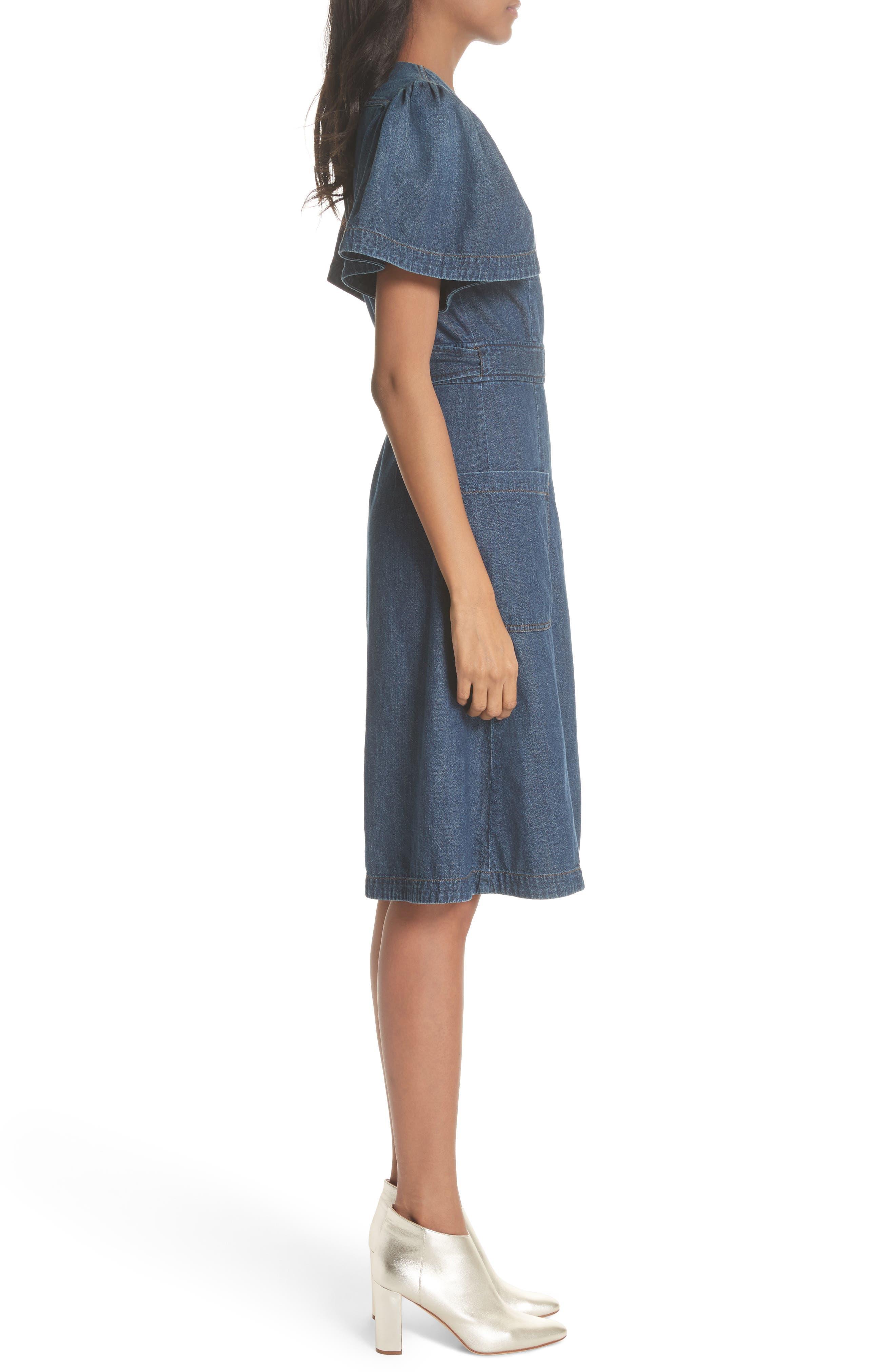 Denim Wrap Dress,                             Alternate thumbnail 3, color,                             469