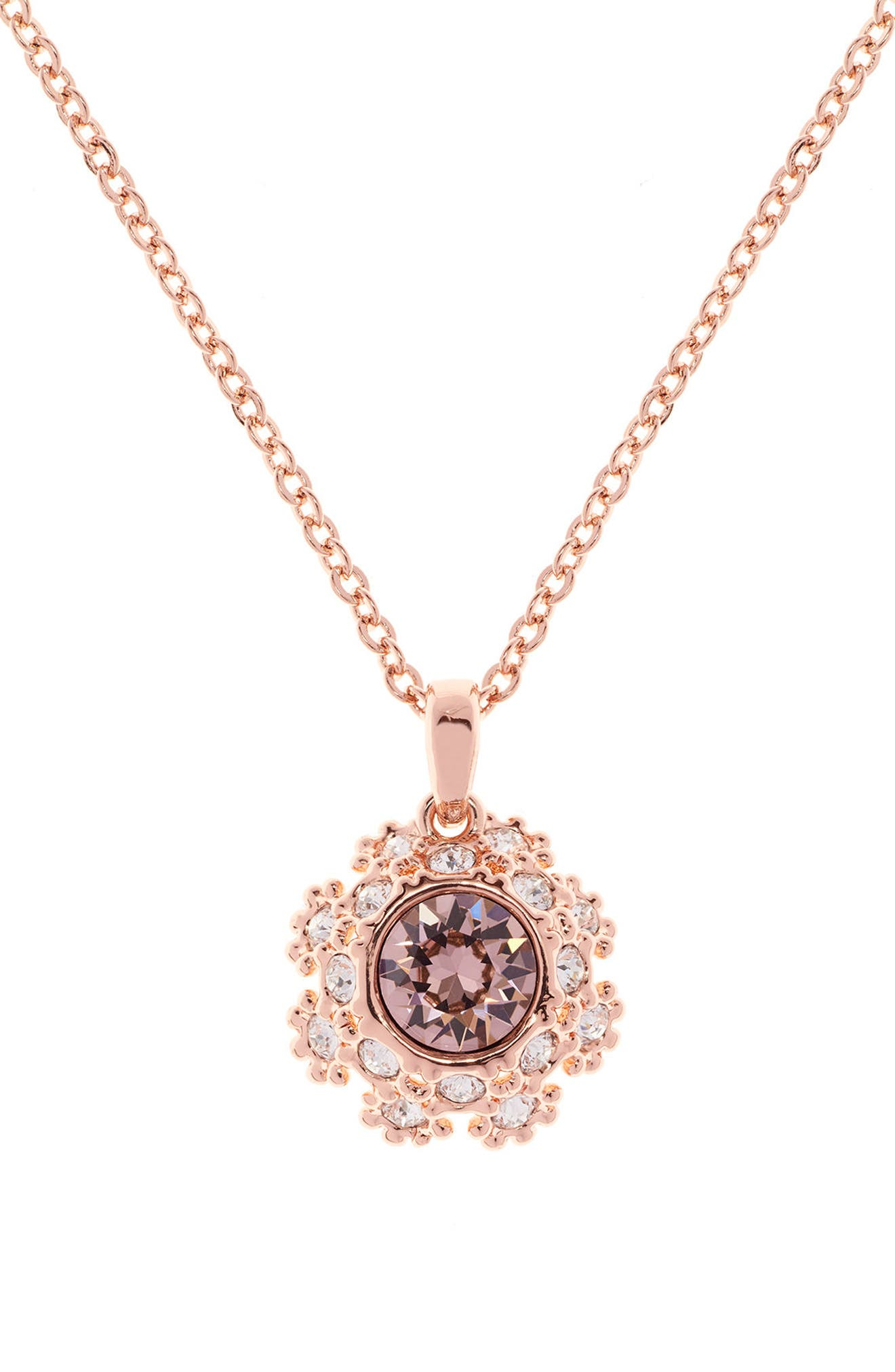 Crystal Daisy Lace Pendant Necklace,                             Alternate thumbnail 6, color,