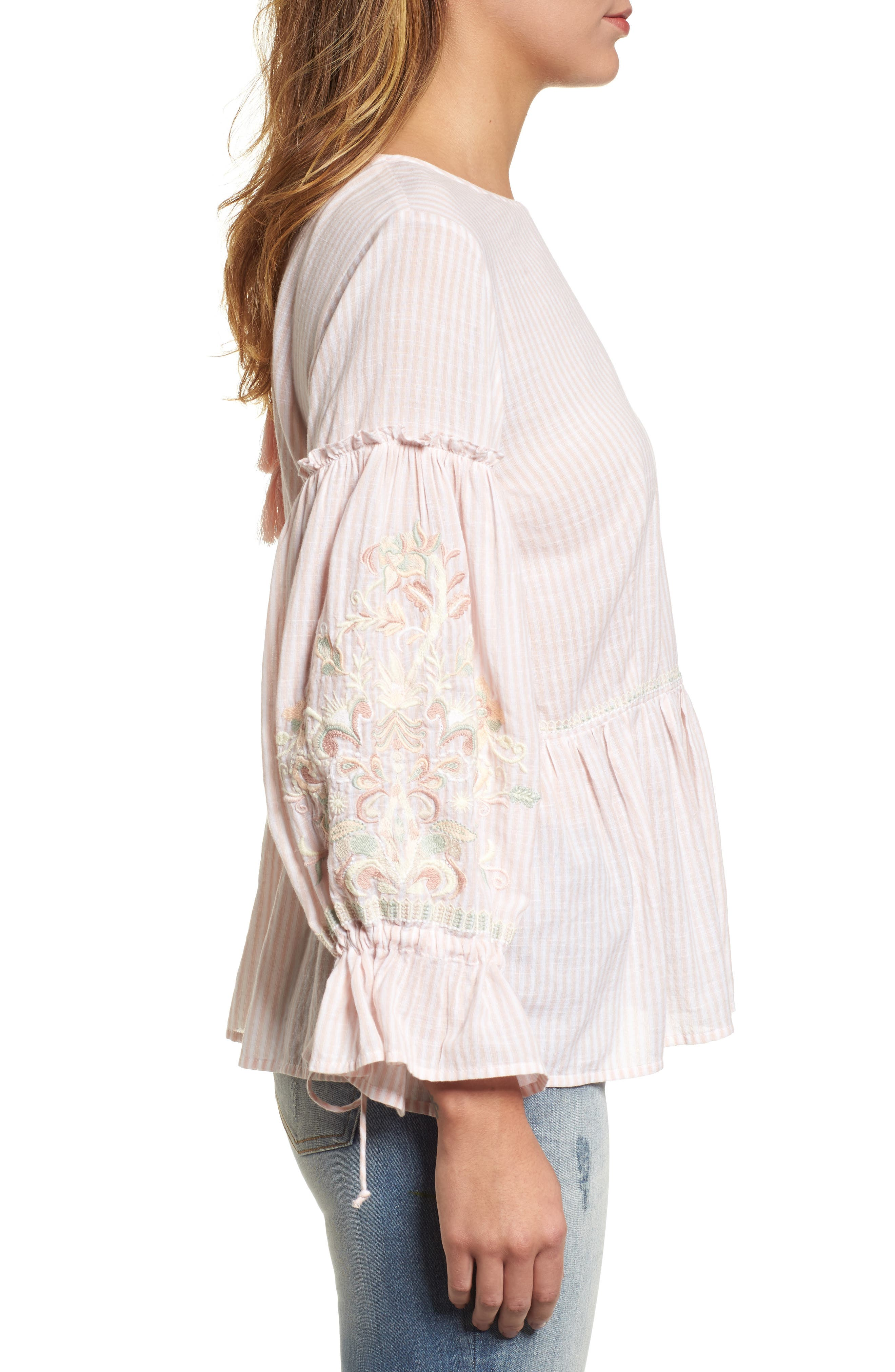 Embroidered Sleeve Top,                             Alternate thumbnail 6, color,