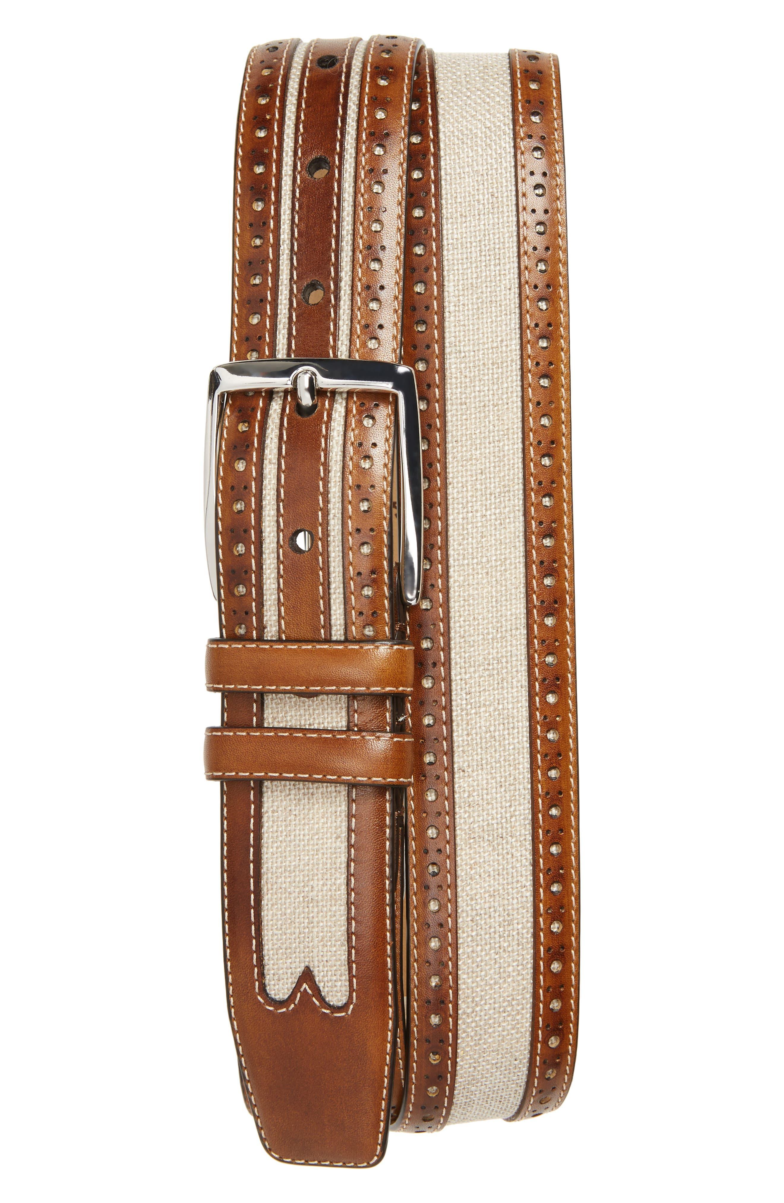 Palma Linen & Leather Belt,                             Main thumbnail 1, color,                             HONEY/ BONE
