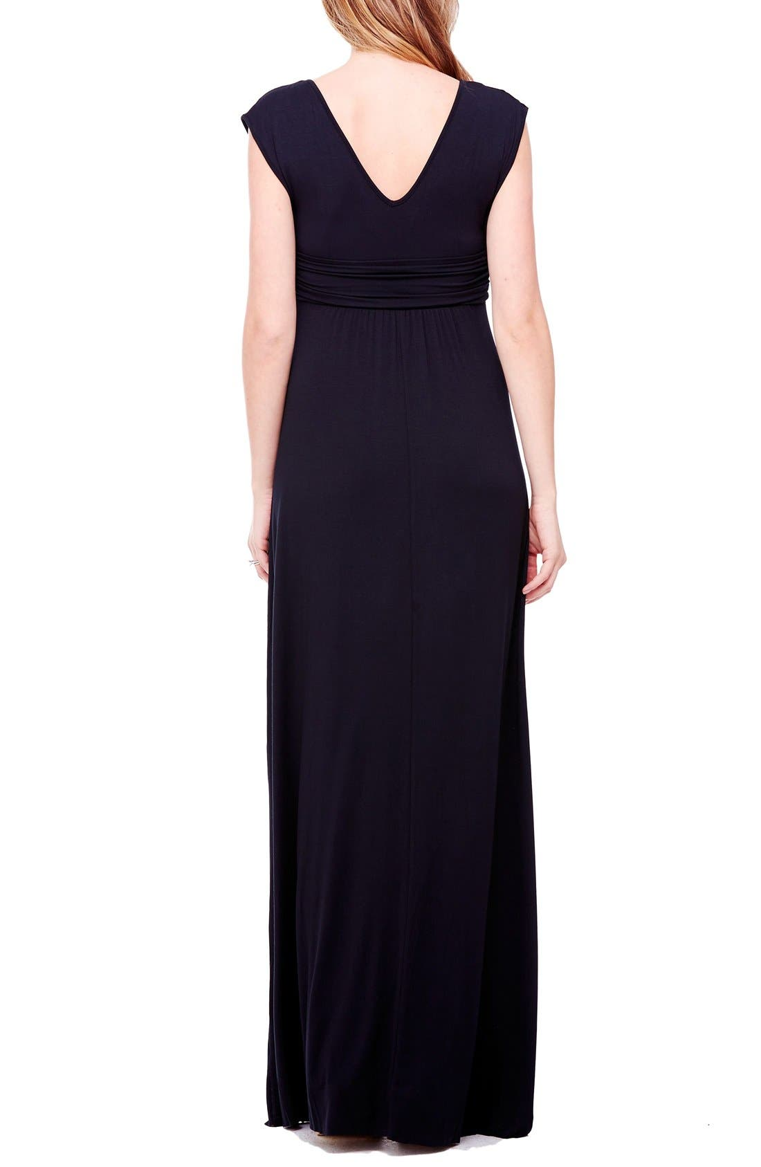 Empire Waist Maternity Maxi Dress,                             Alternate thumbnail 4, color,