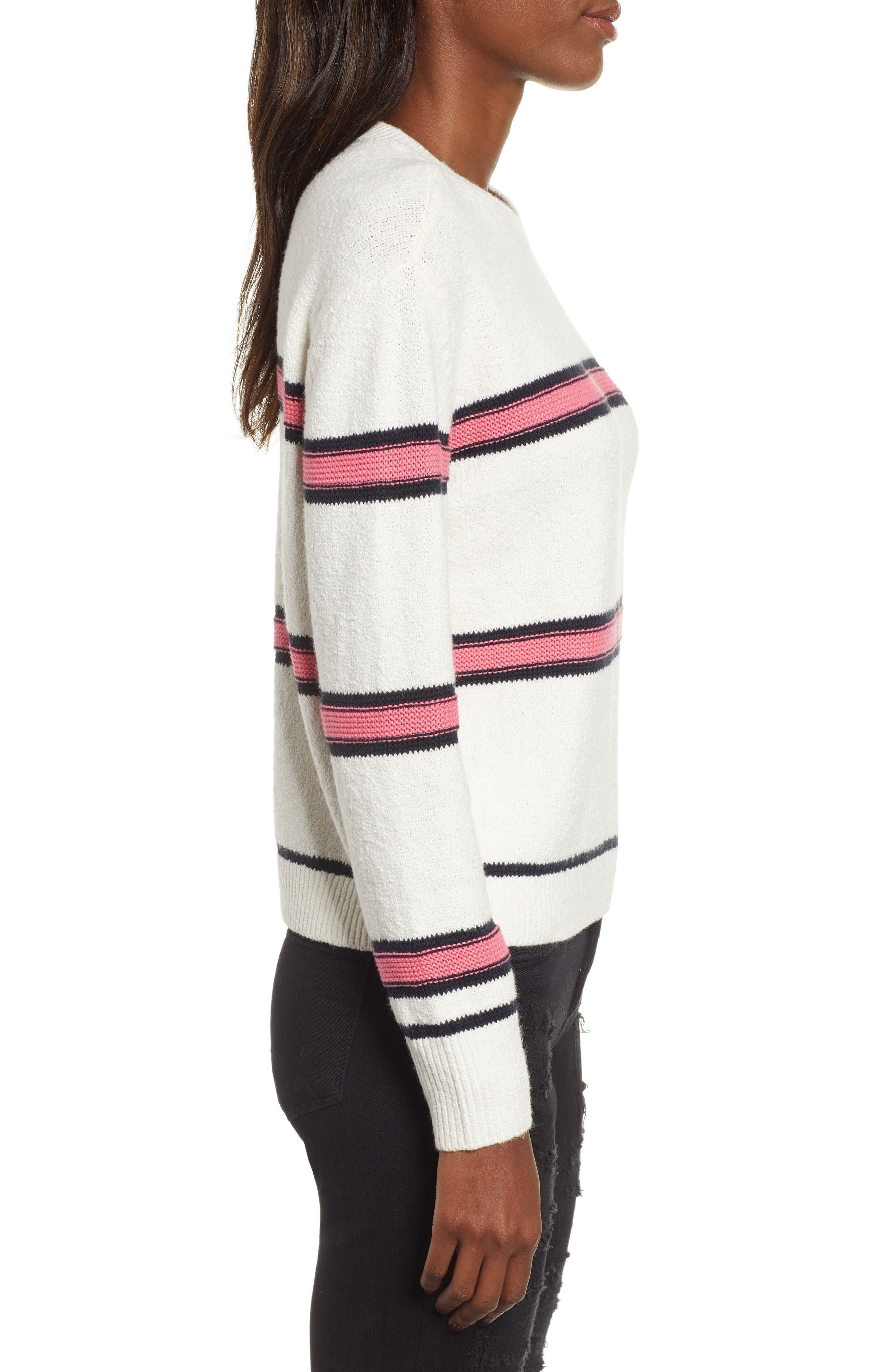 Spring Stripe Sweater,                             Alternate thumbnail 3, color,                             IVORY CLAUDIA STRIPE