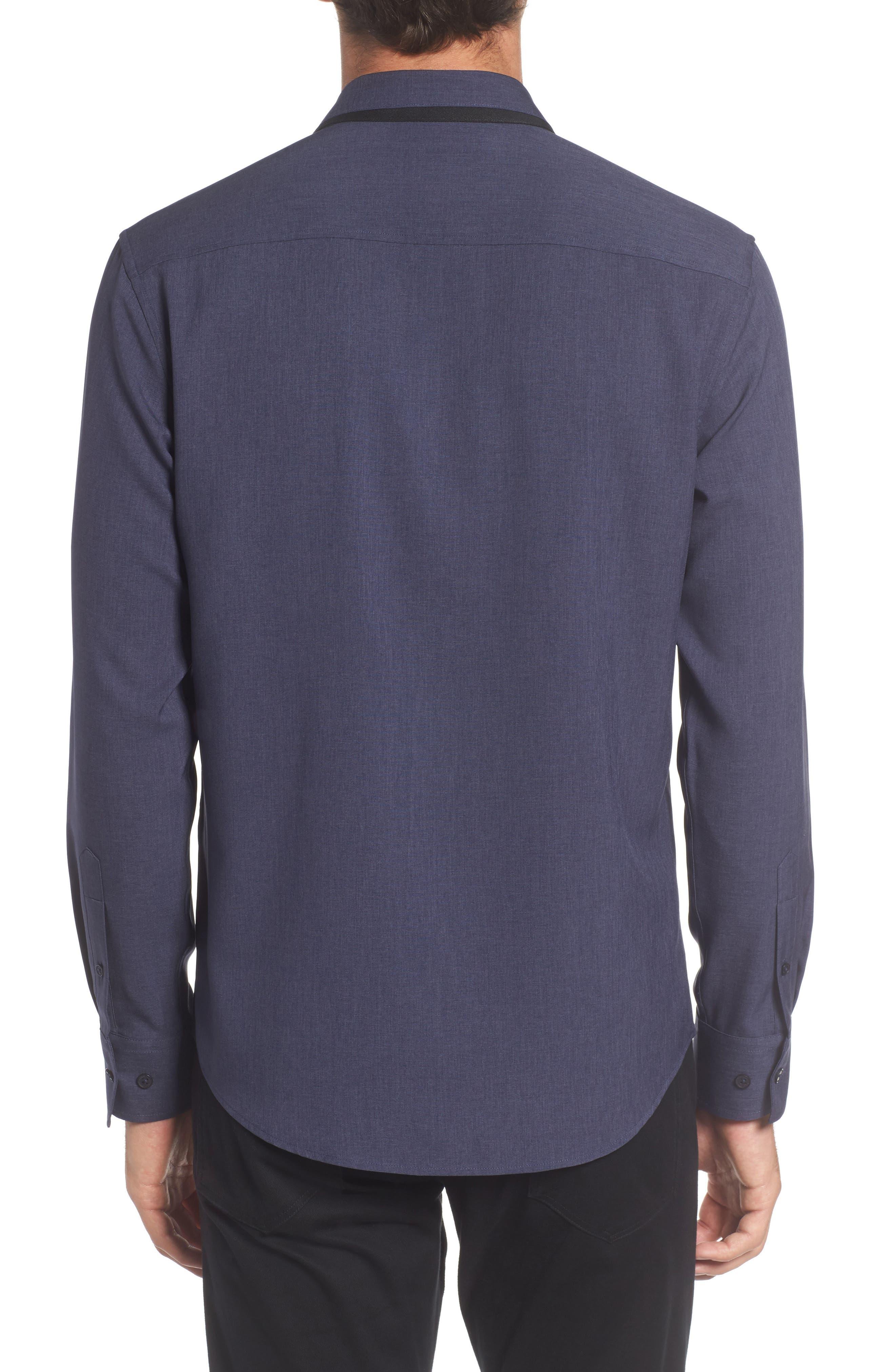 Trim Fit Performance Knit Sport Shirt,                             Alternate thumbnail 2, color,                             NAVY