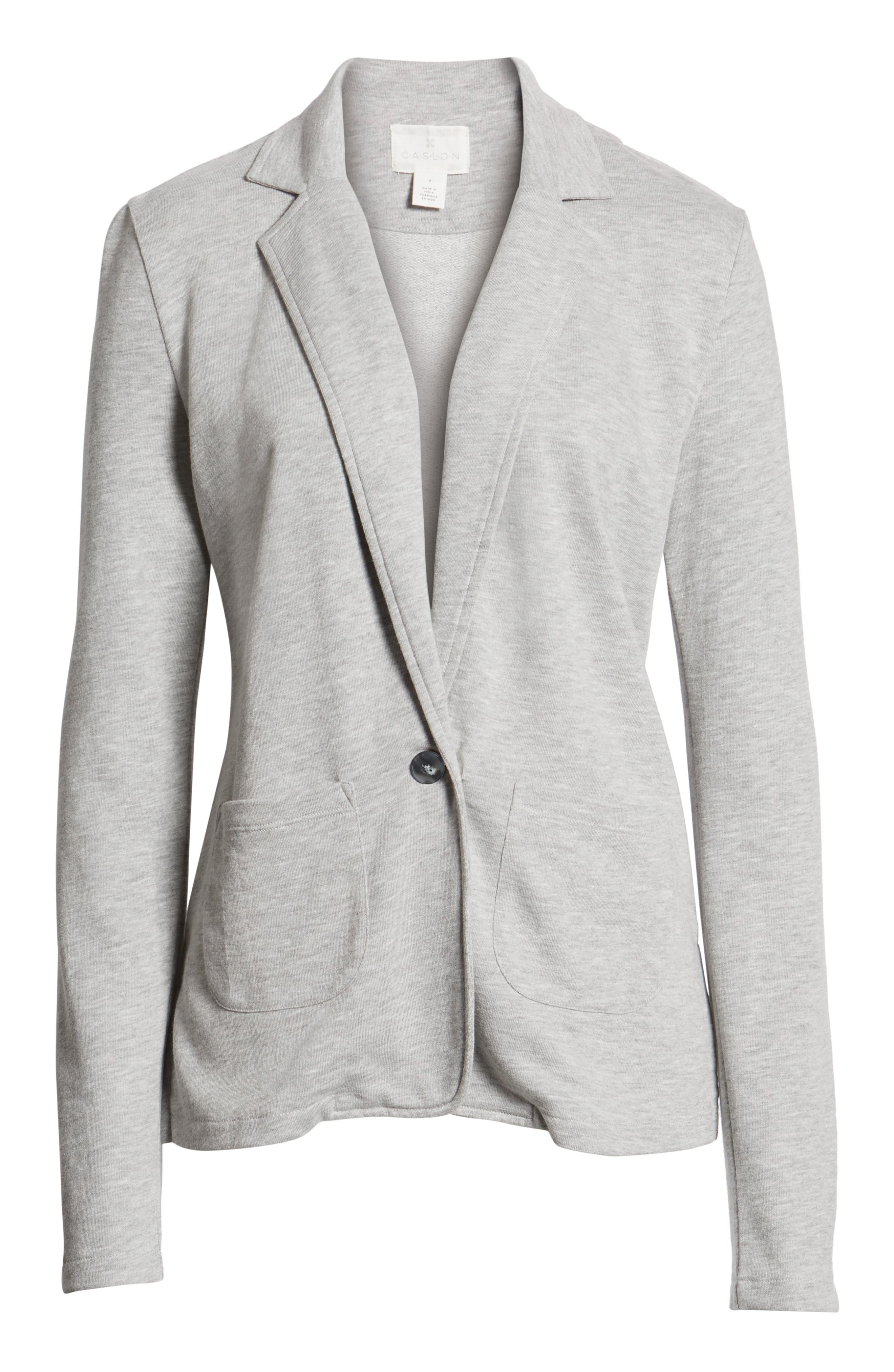 Two Pocket Knit Blazer,                             Alternate thumbnail 6, color,                             GREY HEATHER