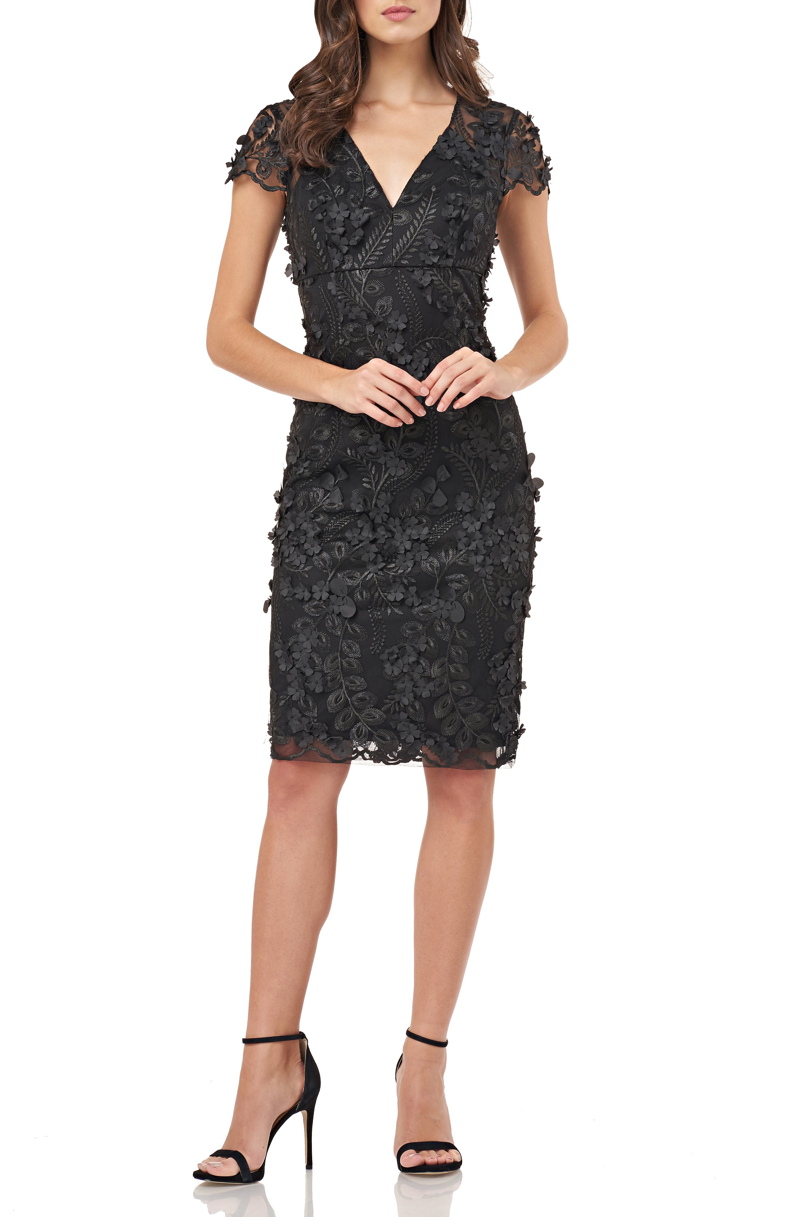 CARMEN MARC VALVO INFUSION Petals Embellished Cocktail Dress in Black