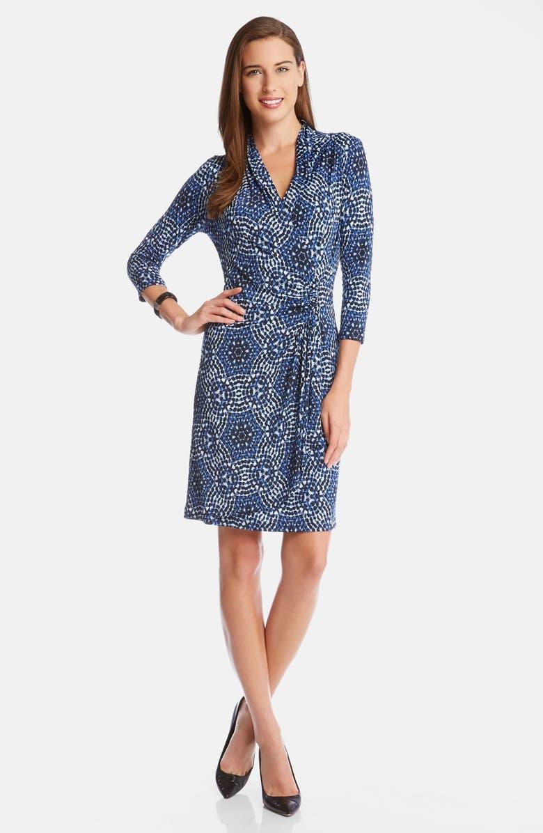 66642690f72 Karen Kane  Blue Mosaic  Print Cascade Faux Wrap Dress