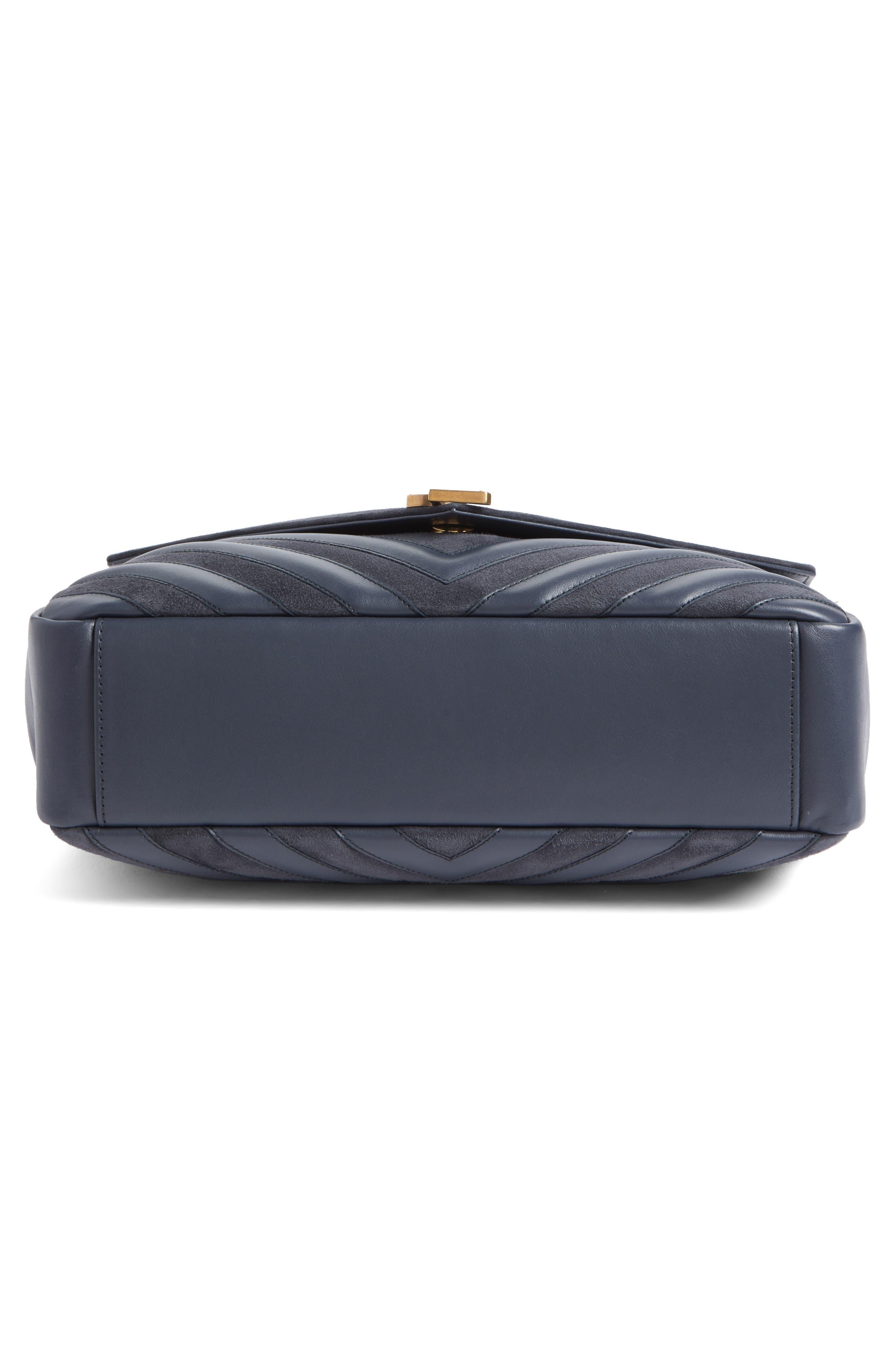 Medium College Patchwork Suede & Leather Shoulder Bag,                             Alternate thumbnail 6, color,                             020