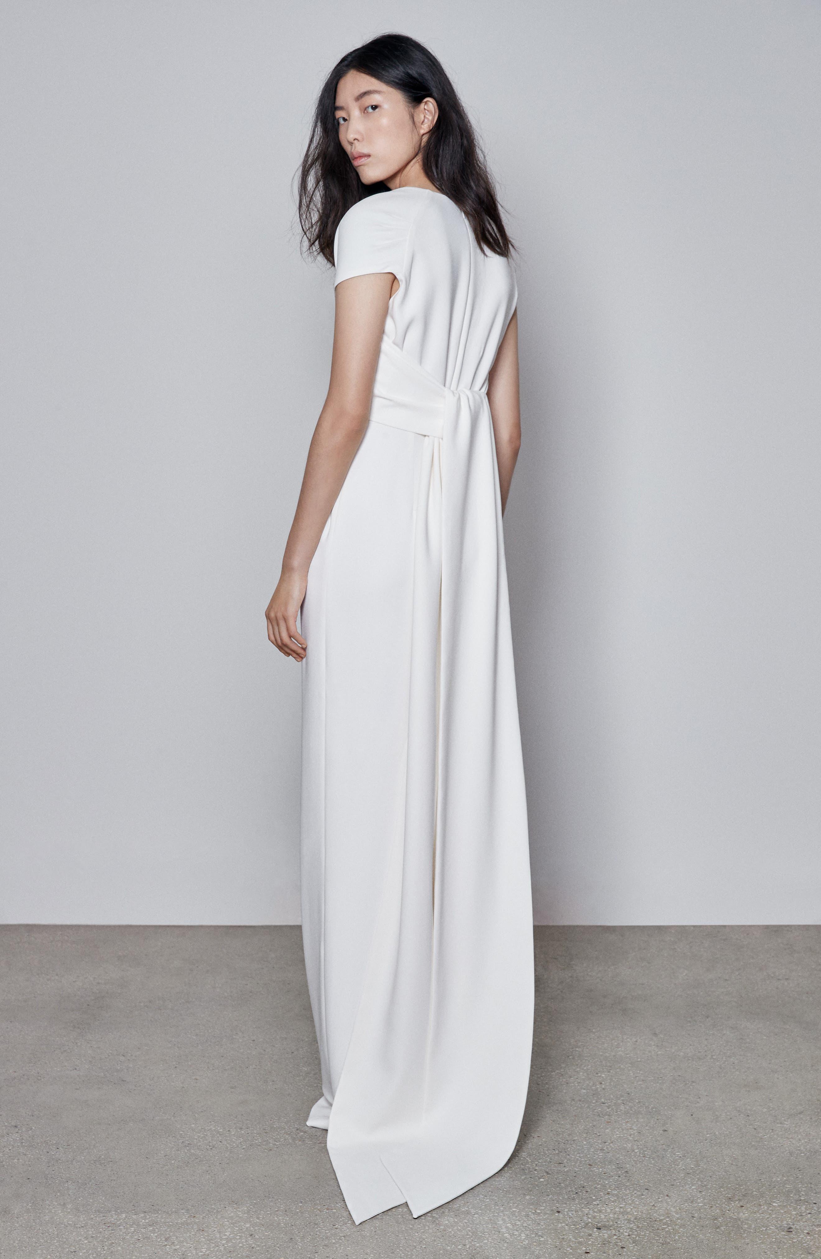 F18 Rose Cap Sleeve Wedding Dress,                             Alternate thumbnail 2, color,                             PURE WHITE