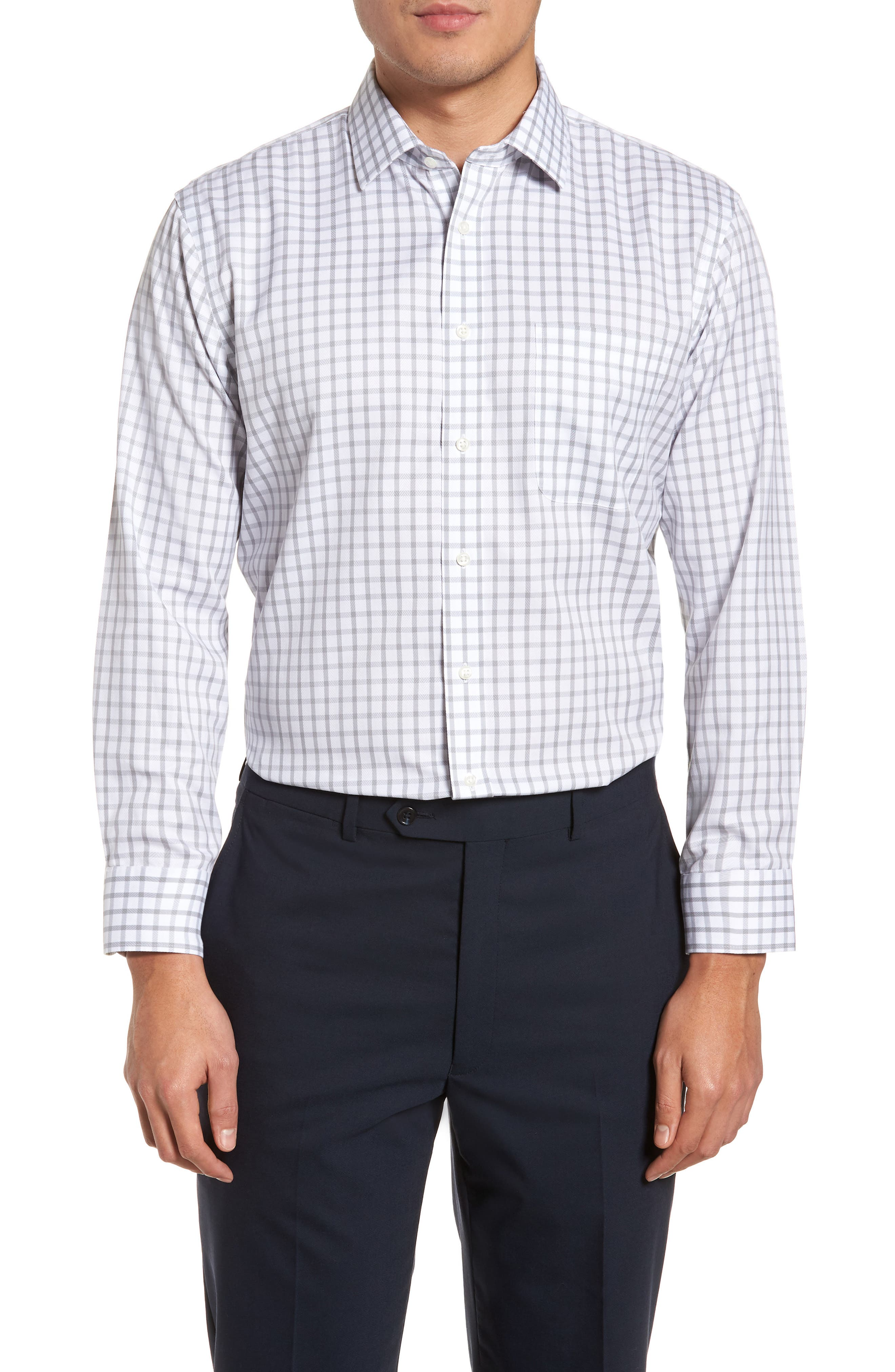Smartcare<sup>™</sup> Trim Fit Check Dress Shirt,                         Main,                         color, 050